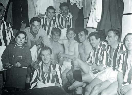 The jubilant Fraserburgh team in the dressing room after the match.
