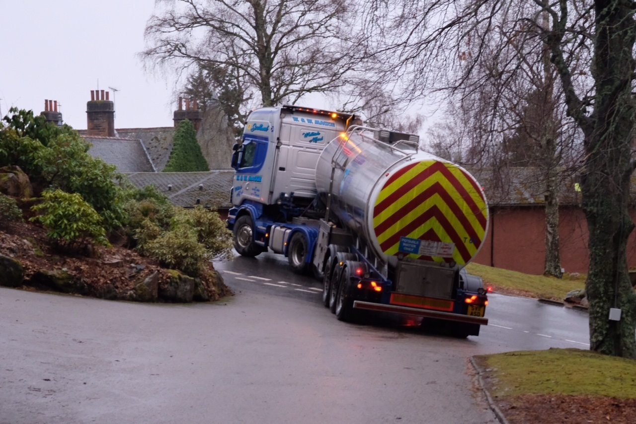 A Scottish Water tanker leaves the Hilton Grand Vacations Club at Craigendarroch after the luxury facility sprung a major leak earlier this week.
