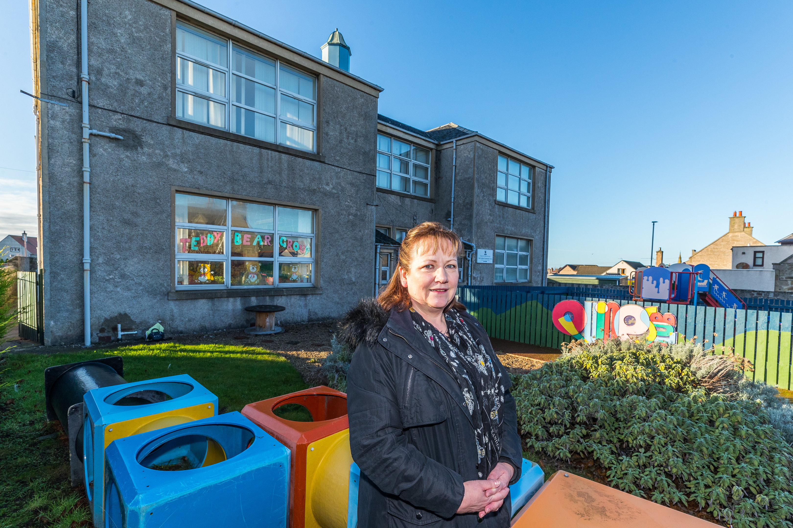 Councillor Sonya Warren outside the rear of Lady Cathcart Community Centre, High Street, Buckie