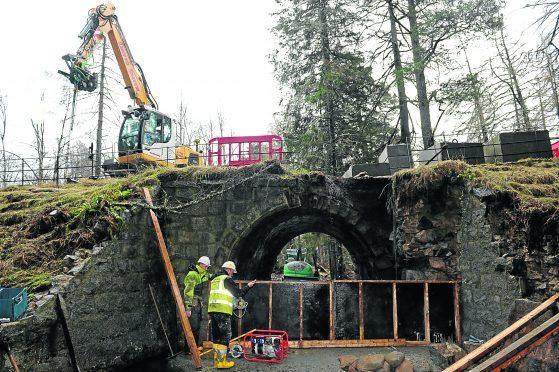 Aberdeenshire Council working to repair the Invercauld Bridge near Braemar, following the devastating floods in 2016.