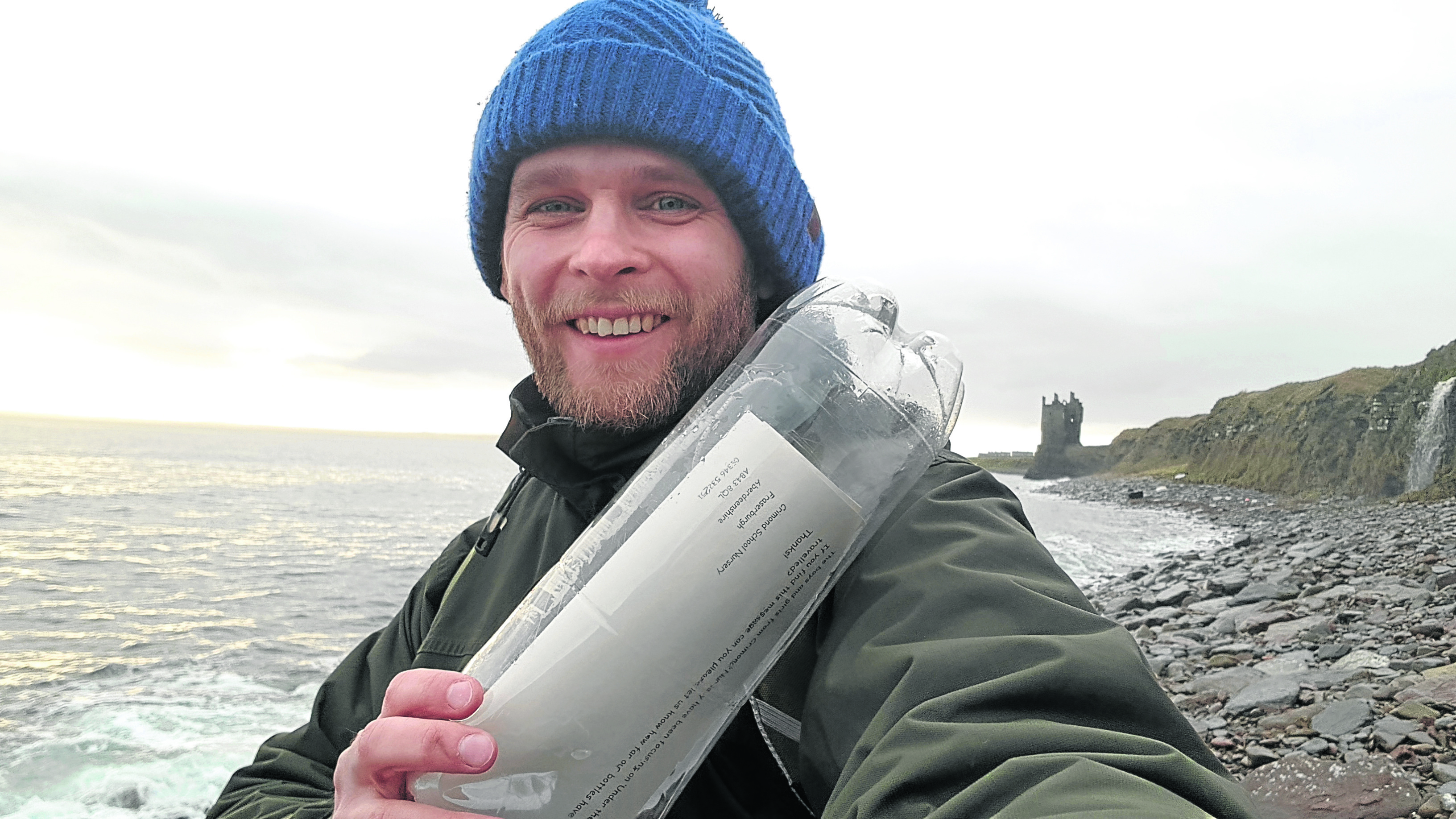 Chris Aitken, who found the message in a bottle on a beach near Wick.