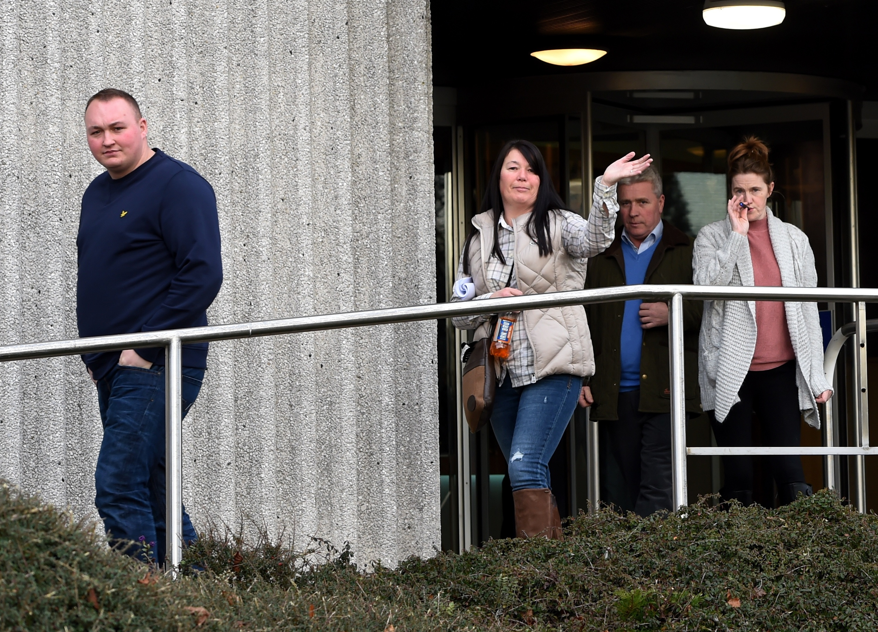 People leaving the North Esk gypsy-traveller meeting at Aberdeenshire Council headquarters. (Picture by Kenny Elrick)
