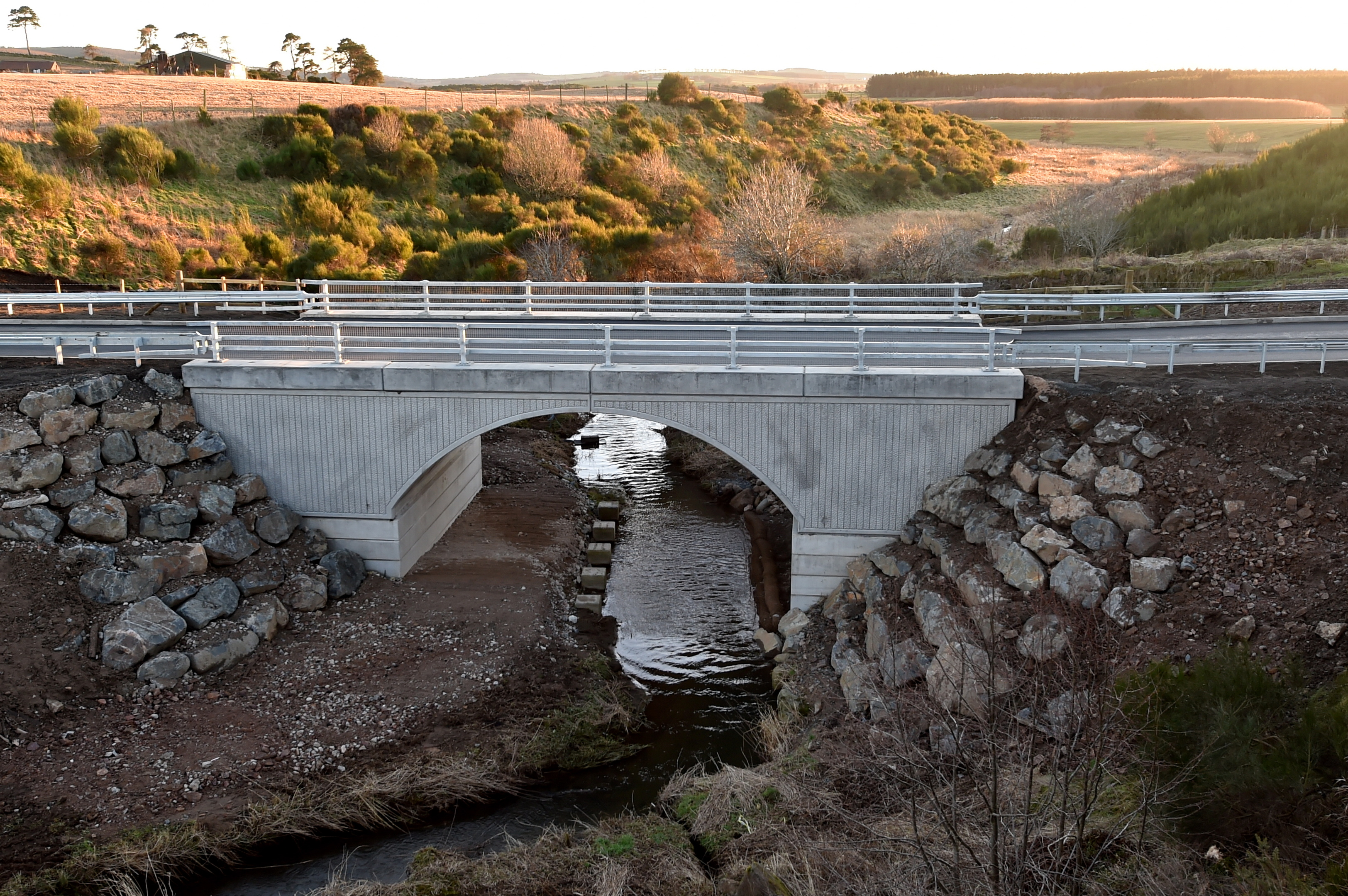 Construction of the new Denmill Bridge is now complete and the C67C Kinmuck Road has been reopened.  Picture by Kenny Elrick