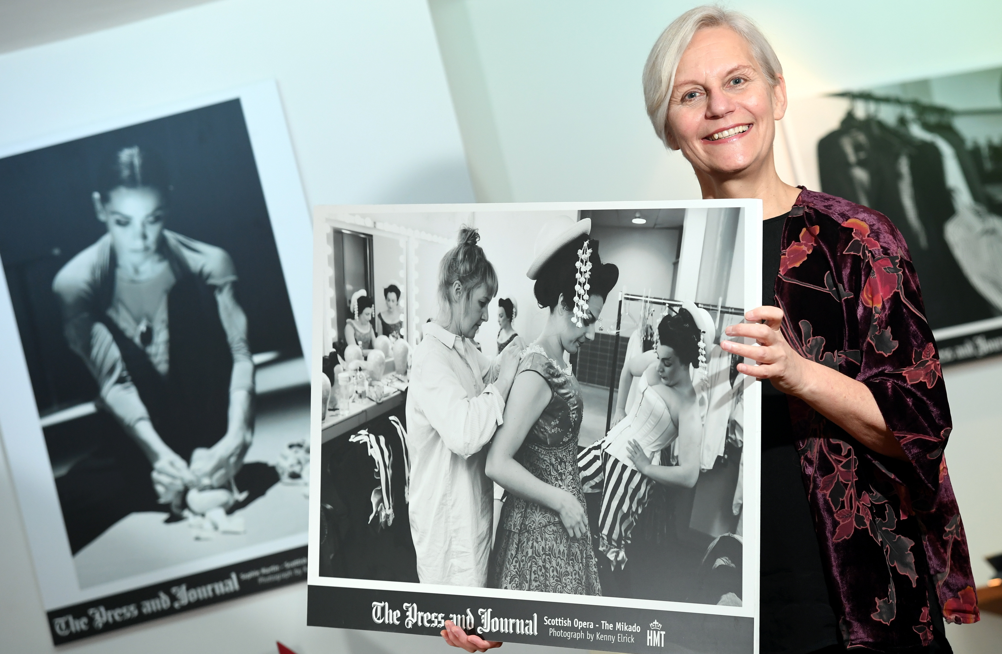 The Press and Journal photographic exhibition in the 1906 restaurant at HMT, with images from some of the productions at the theatre.      Pictured - Jane Speirs APA Chief Executive with the exhibition.     Picture by Kami Thomson    12-01-18