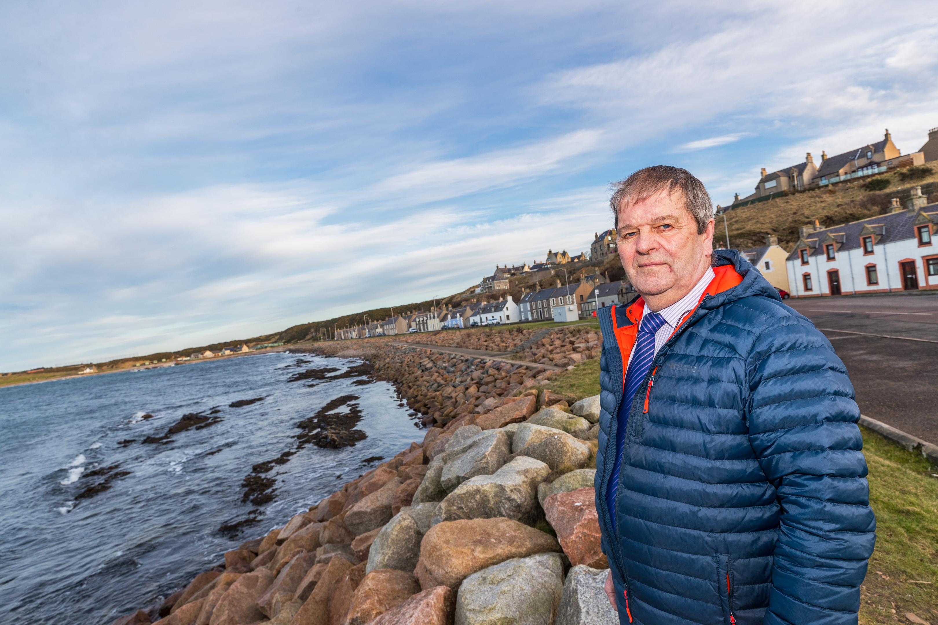 Councilor Gordon Cowie at the coast of Portessie