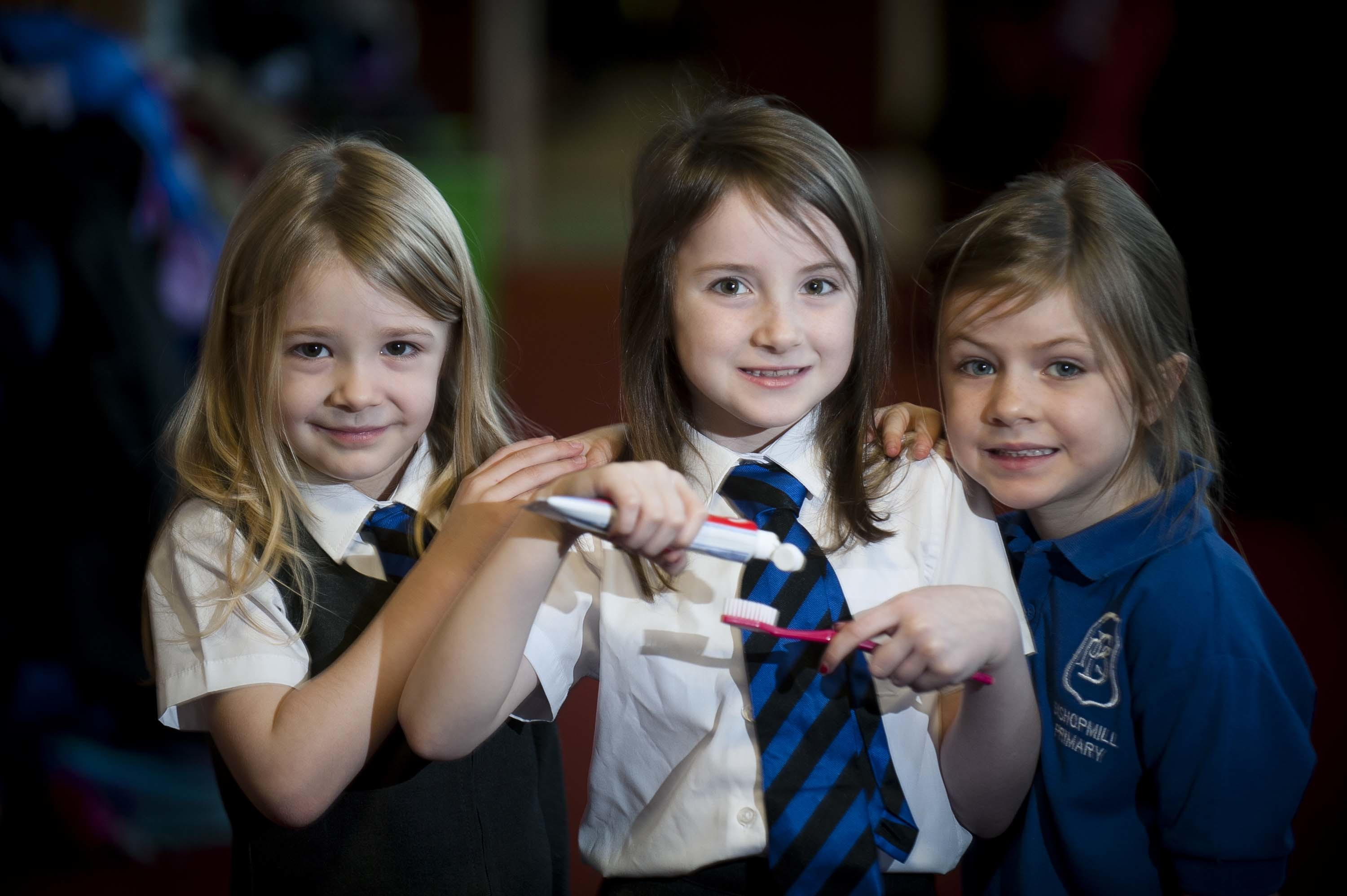 P2 kids at Bishopmill Primary School, Elgin.  In photo from the left Ella Morrison 6, Zara Whyte 6 and Mollie Watters 6.