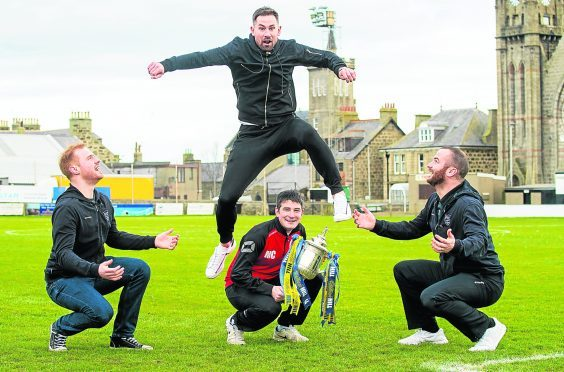 (L-R) Fraserburgh goalkeeper Eddie Flinn, manager Mark Cowie (bottom), captain Ryan Christie, and player Mark Dickson (top)