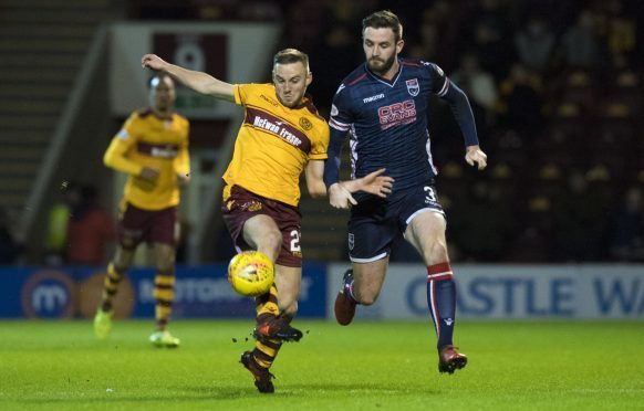 Motherwell's Allan Campbell (left) with Jason Naismith