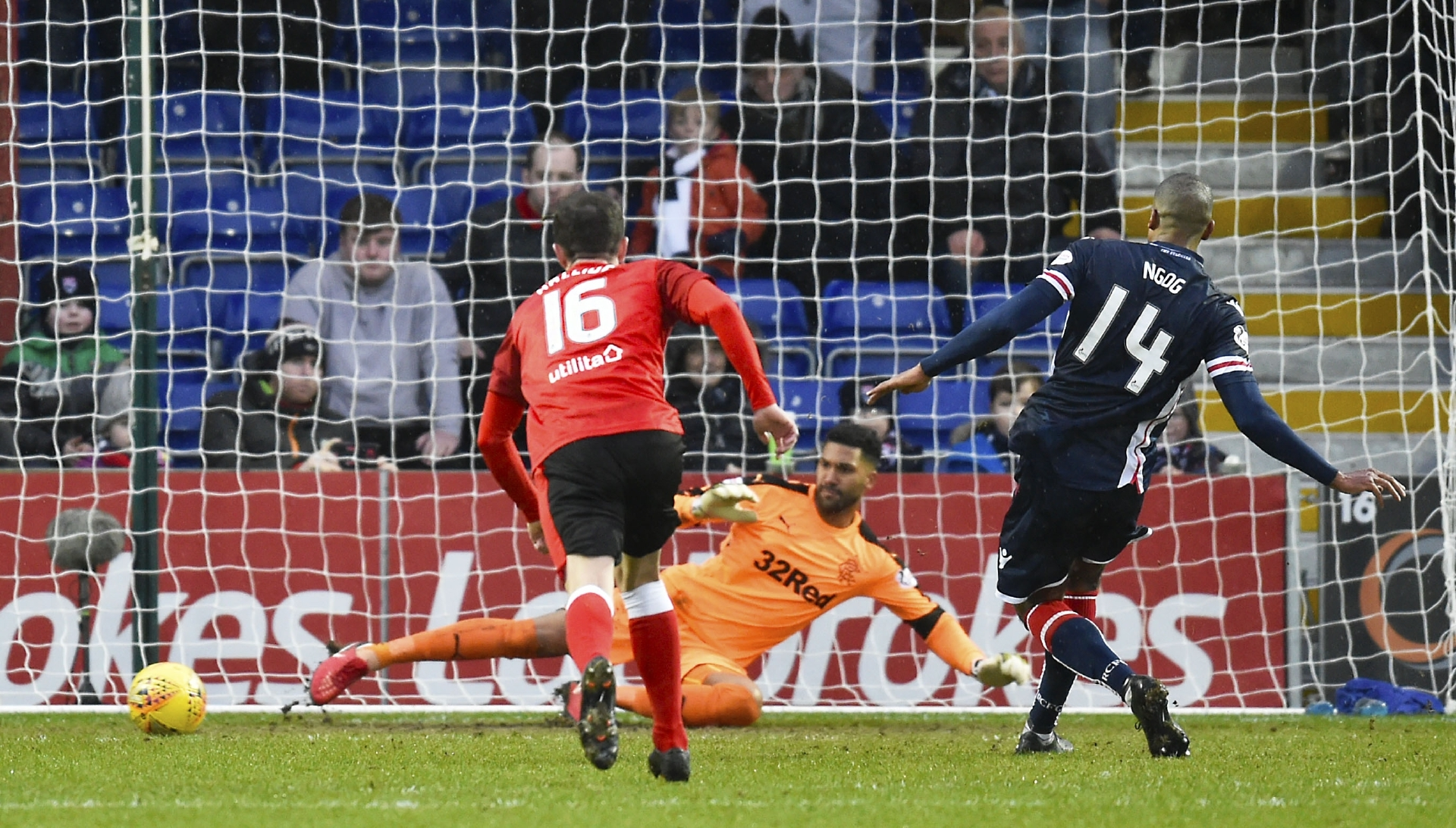 Ross County's David N'Gog scores a penalty in the sides' meeting in January 2018.