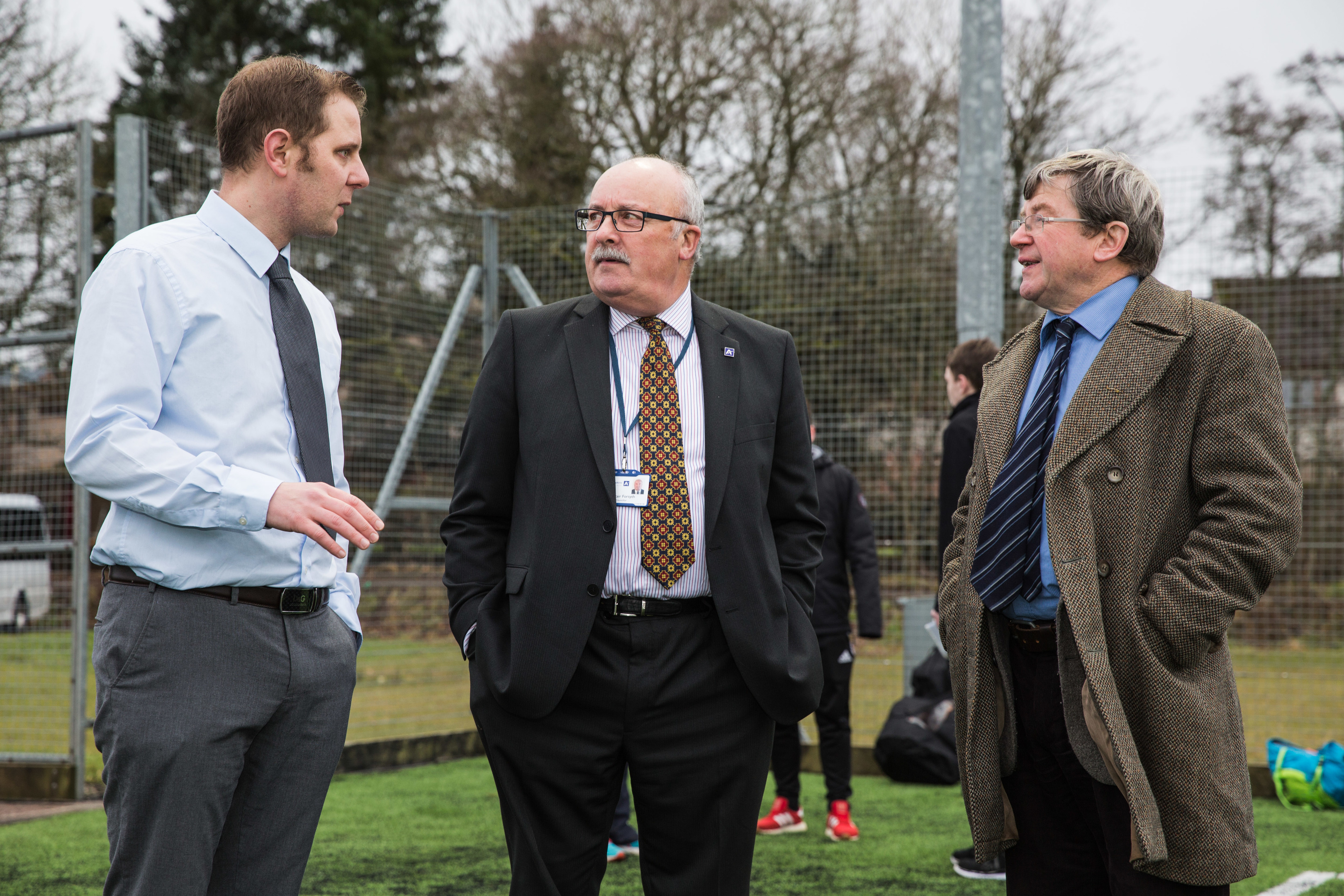 Councillors Alastair Forsyth and Iain Taylor toured the new Turriff all-weather pitch with Aberdeenshire Council community leisure officer Stuart Grant. Picture by Jamie Ross