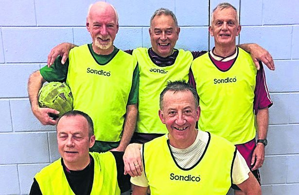 Oldest five-a-side football team.  L to R back row  Derek Dodds, Alistair Norrie, Frank Gaskell. Front two: Brian Colgan left and Robert MacDonald right