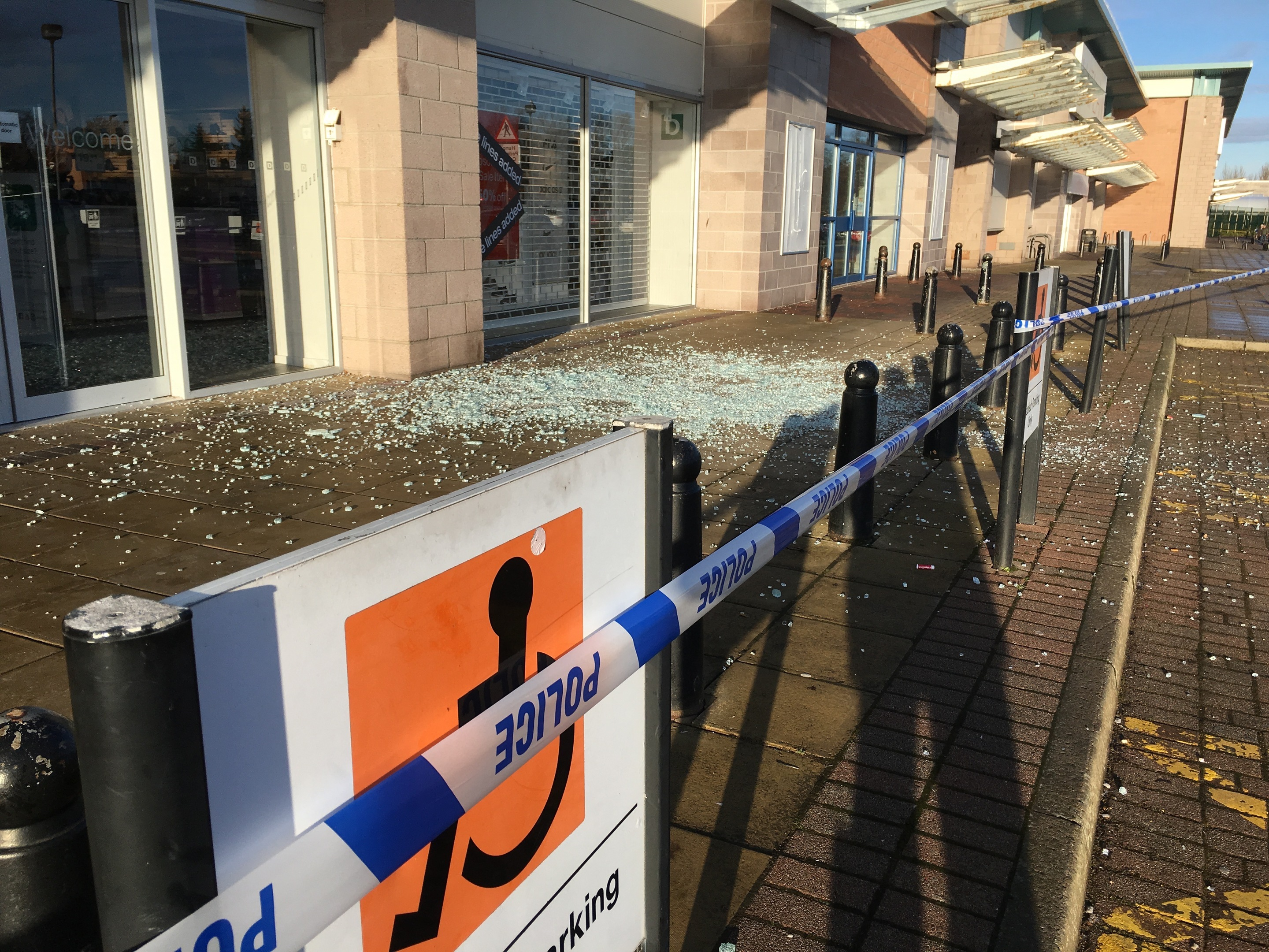 The broken glass at Inshes Retail Park