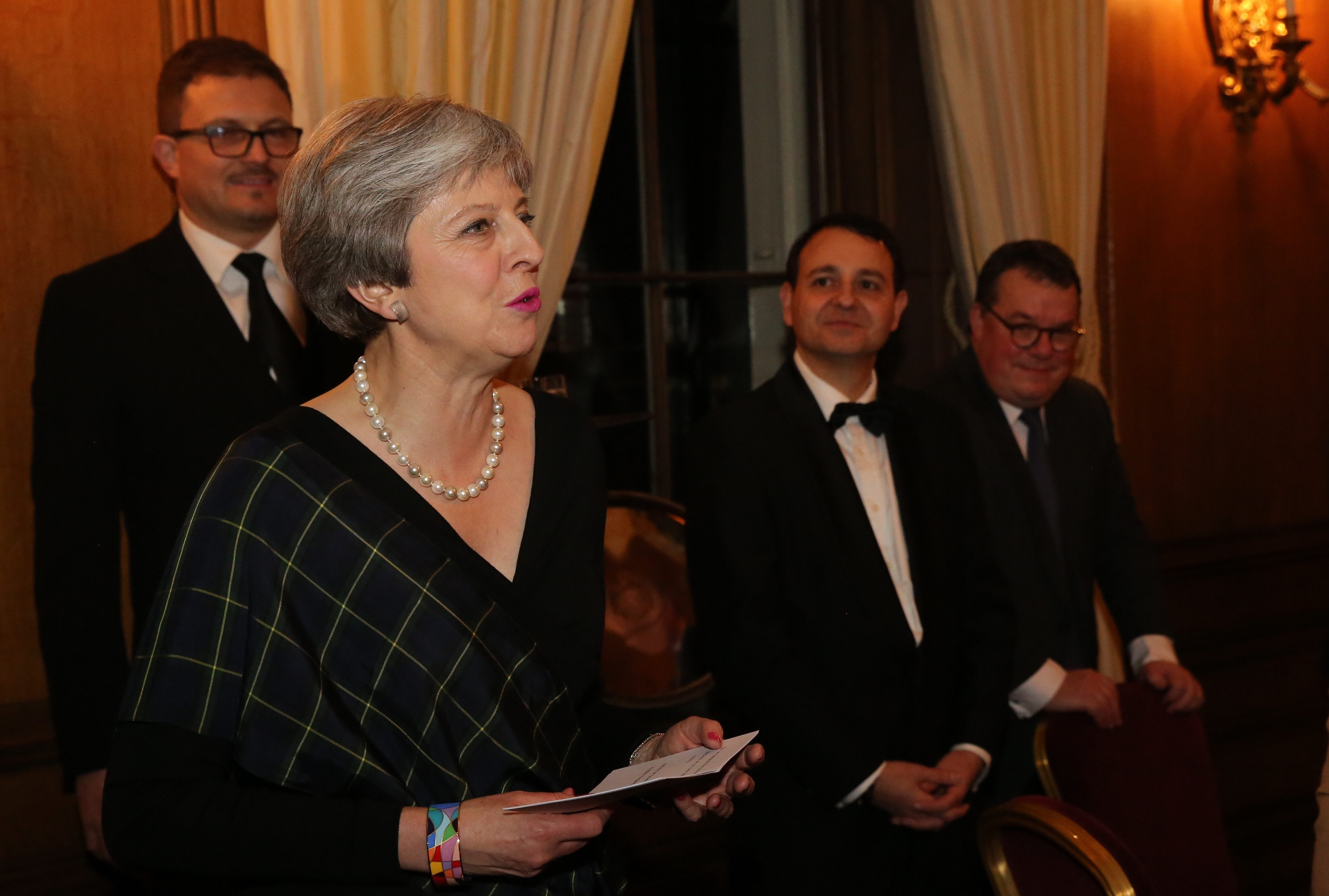 The Prime Minister giving the welcome to guests. with Alberto Costa and Keith Sceogh.