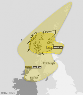 The warning covering much of the north-east (right) comes into effect at 6pm as the earlier one expires.