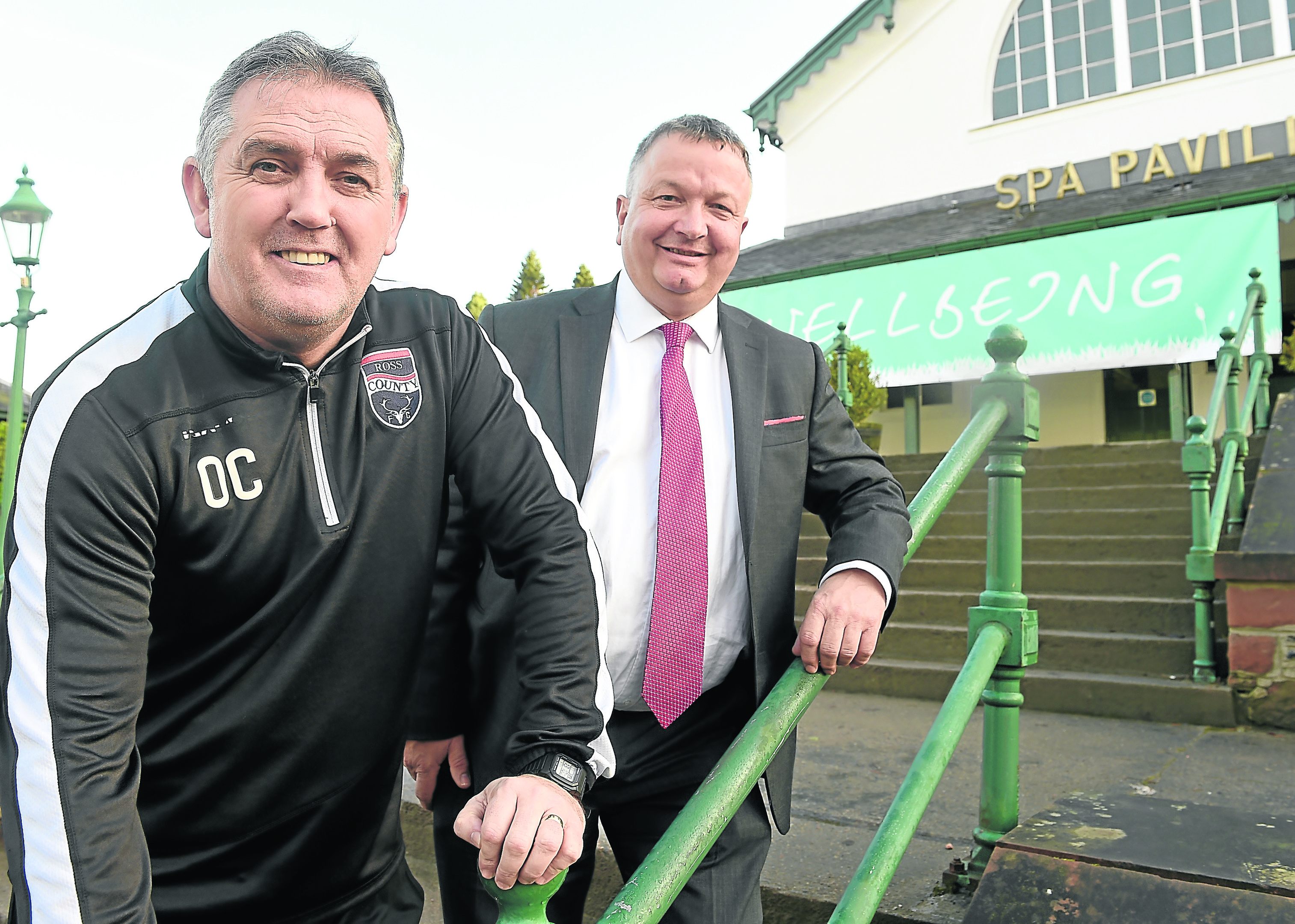 Owen Coyle, Manager of Ross County yesterday spoke at the Rural Wellbeing conference in Strathpeffer. Owen photographed with event Chairman Jim Hume.Pic by Sandy McCook