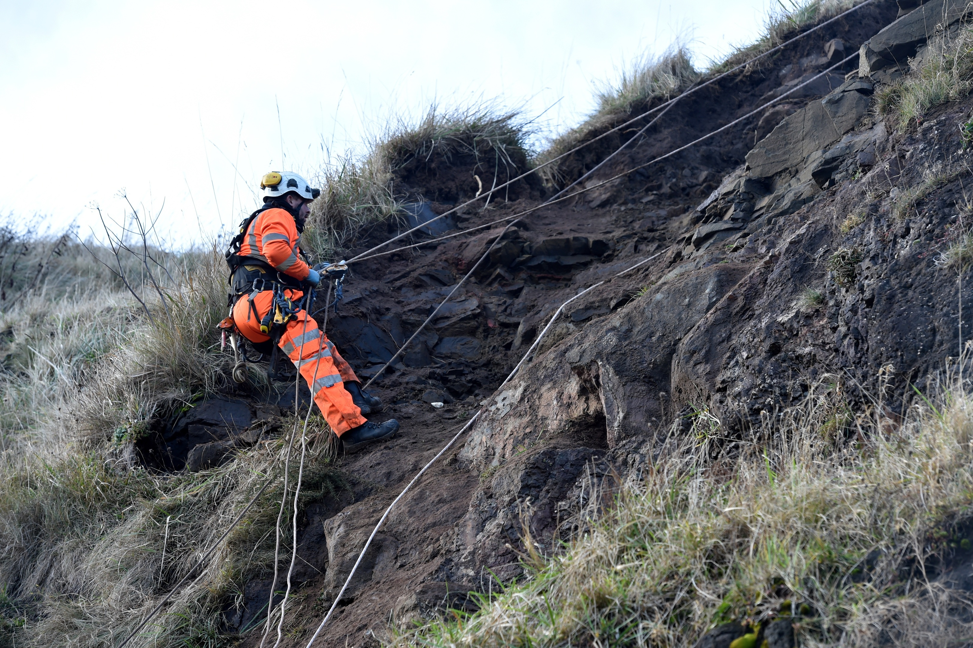 Work has begun to safeguard a footpath which was closed at St Cyrus Beach after a landslip. (Picture by Colin Rennie)
