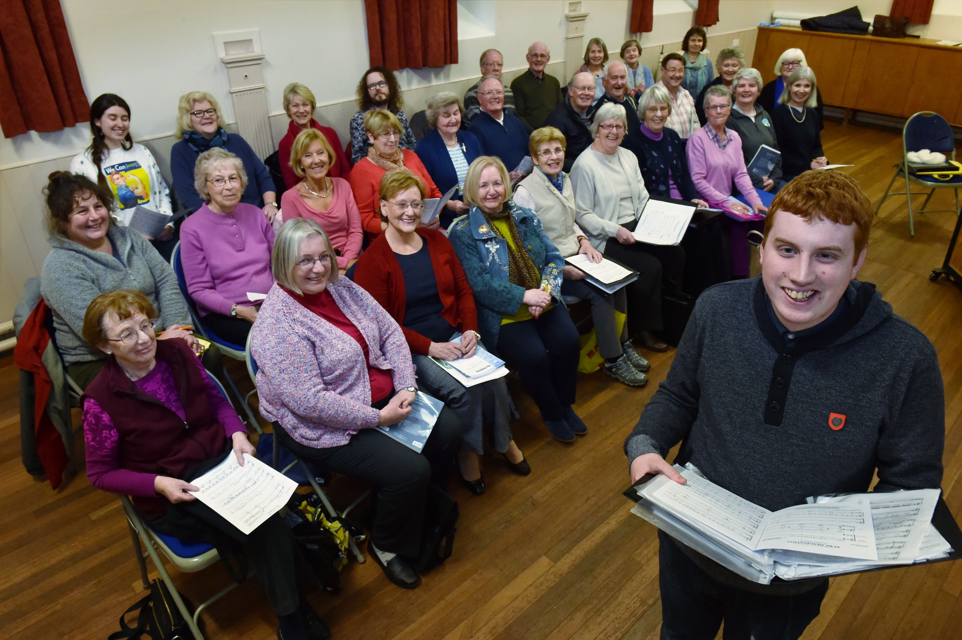 20-year-old Matthew Phillip with the rest of the choir at Ruthrieston West Church. Pic and video by Colin Rennie