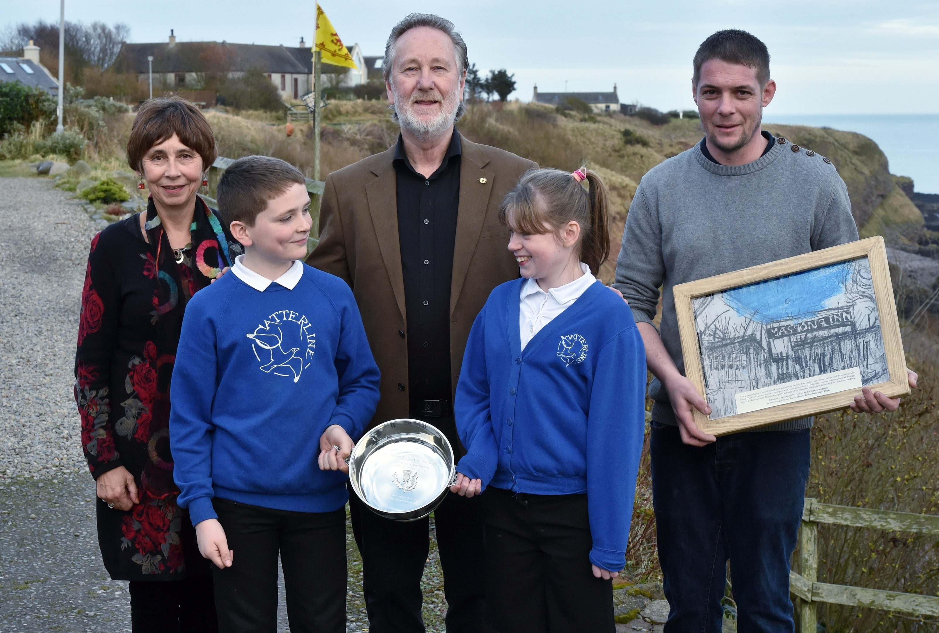 Catterline school pupils Campbell Gauld, 10 and Katie McRae, 10 with (from left) Anne Morrison-Hudson (niece of Joan),  Ron Stephen and Marc Dawson, owner of the Creel Inn. Pictures and video by Colin Rennie