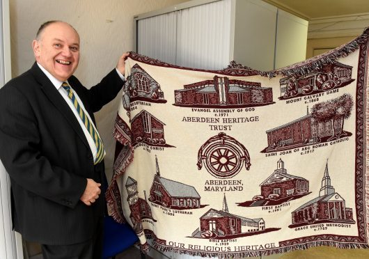 Lord Provost Barney Crocket with some of the  gifts given to previous lord provosts.  Pictures by Jim Irvine