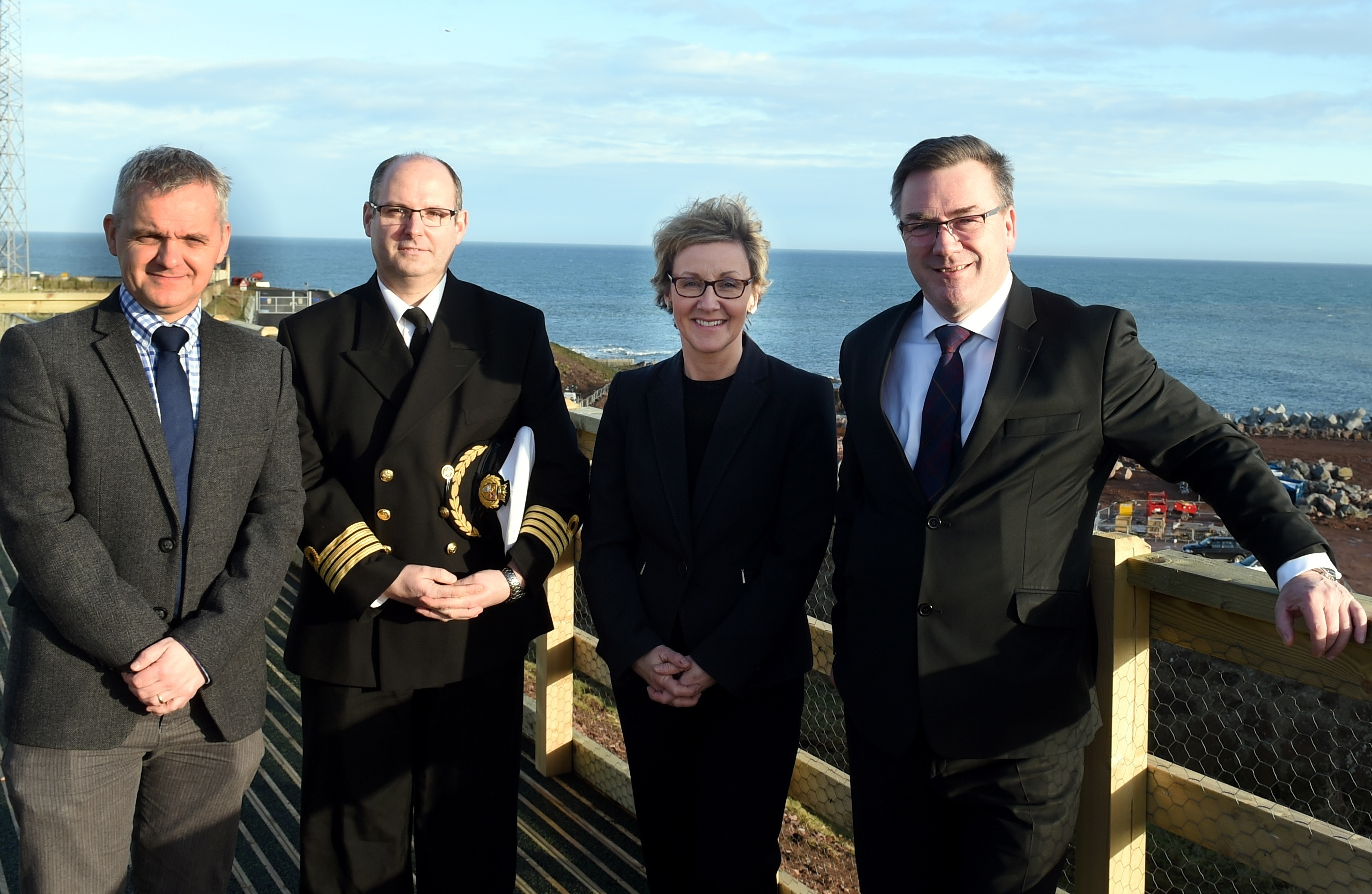 (L-R)Keith Young, engineering director: Captain Jeff Gaskin, harbour master, Chris Bain, external relations director and Matt North, commercial director (Picture by Jim Irvine )