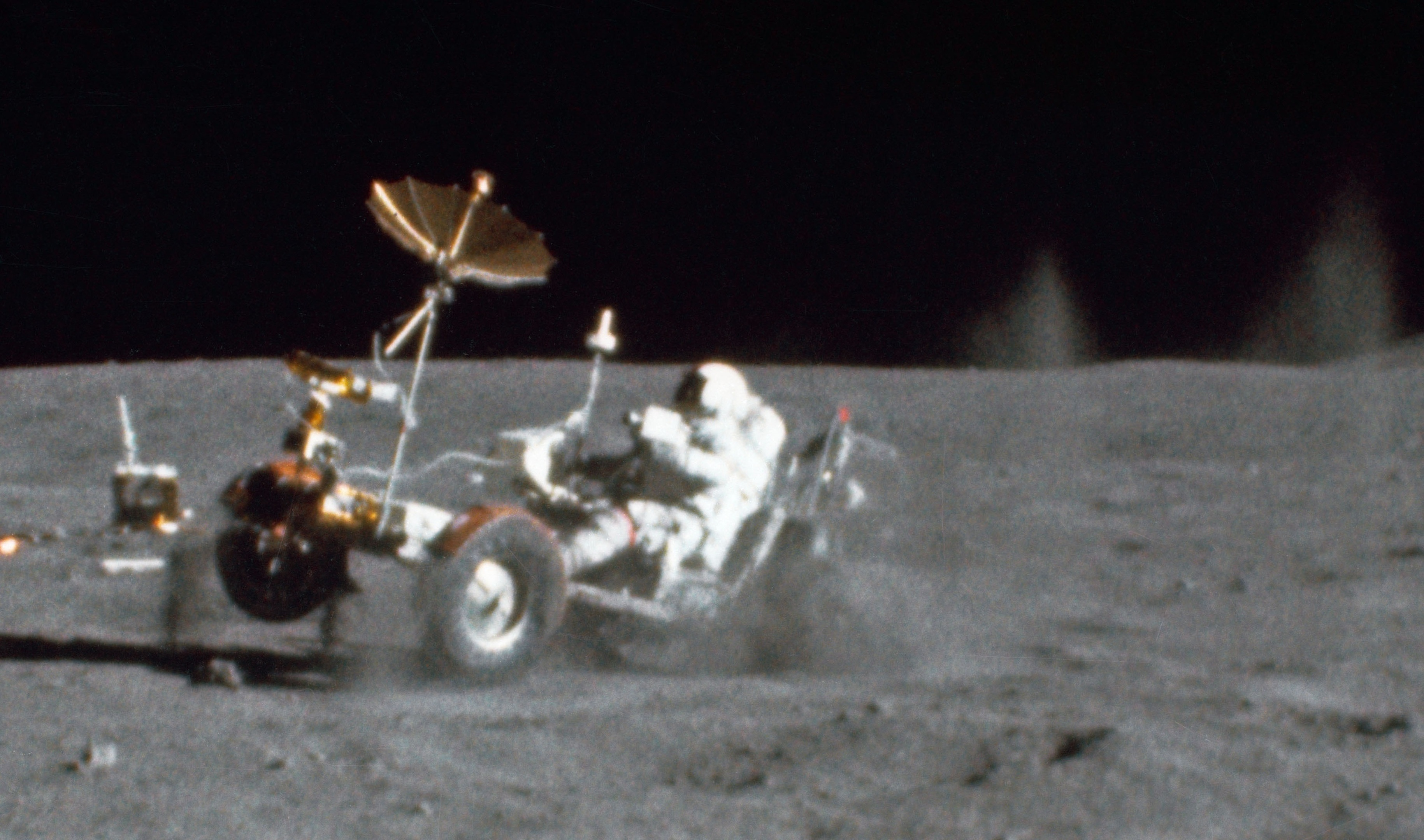 The late Nasa astronaut John Young, who died at the weekend drives the lunar rover on one of his many space missions, he visited the north-east twice during his 42-year-career. (Picture: Nasa)