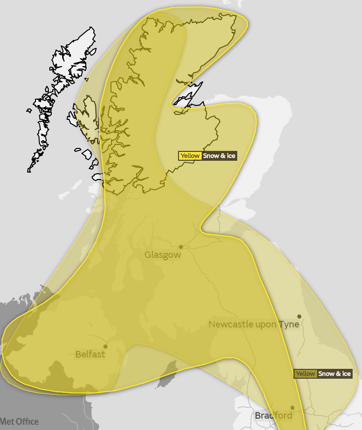 The weather warning covers the Highlands and parts of Moray and Aberdeenshire and runs until tonight.
