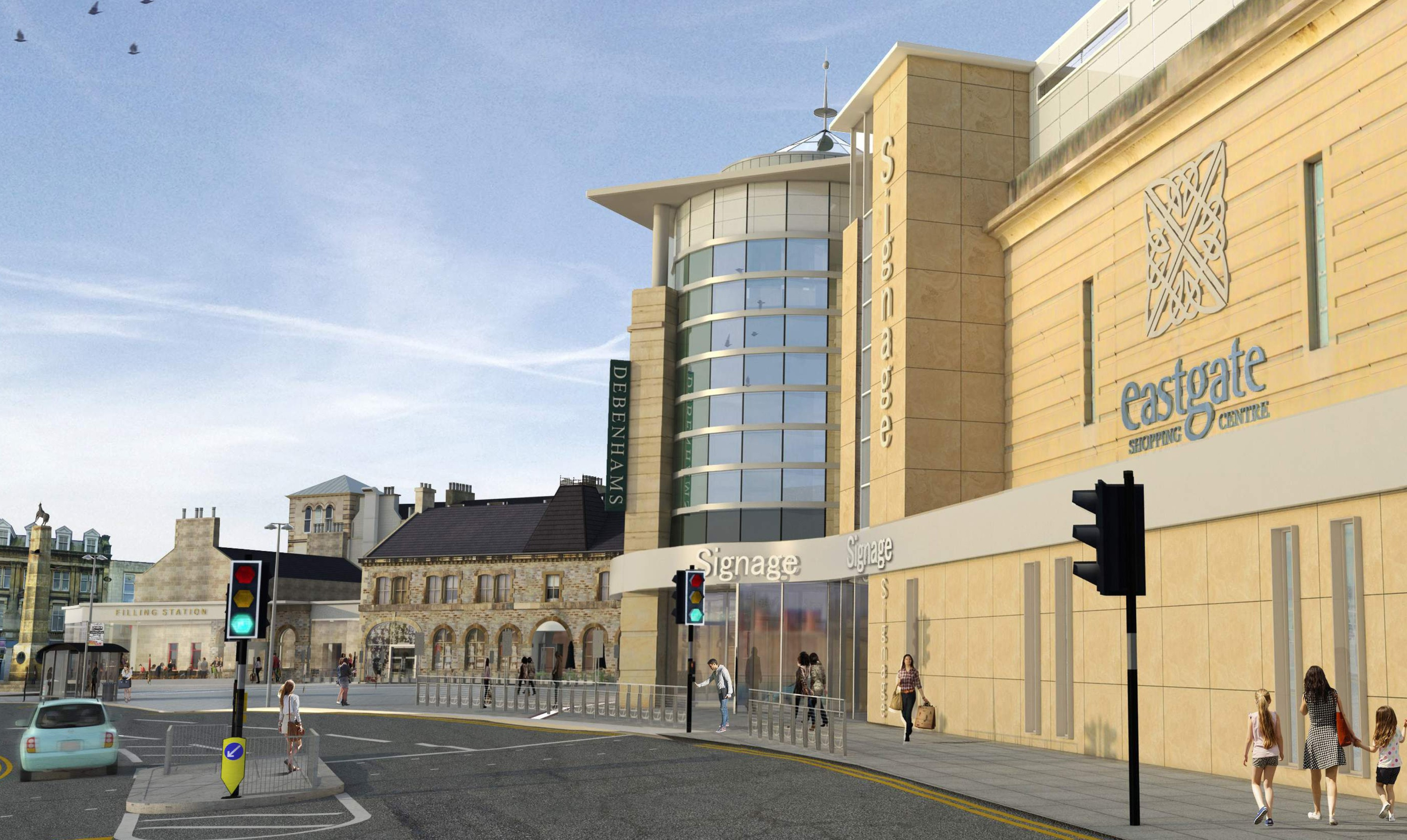 An impression from last year of how the revamped Eastgate will look from the outside