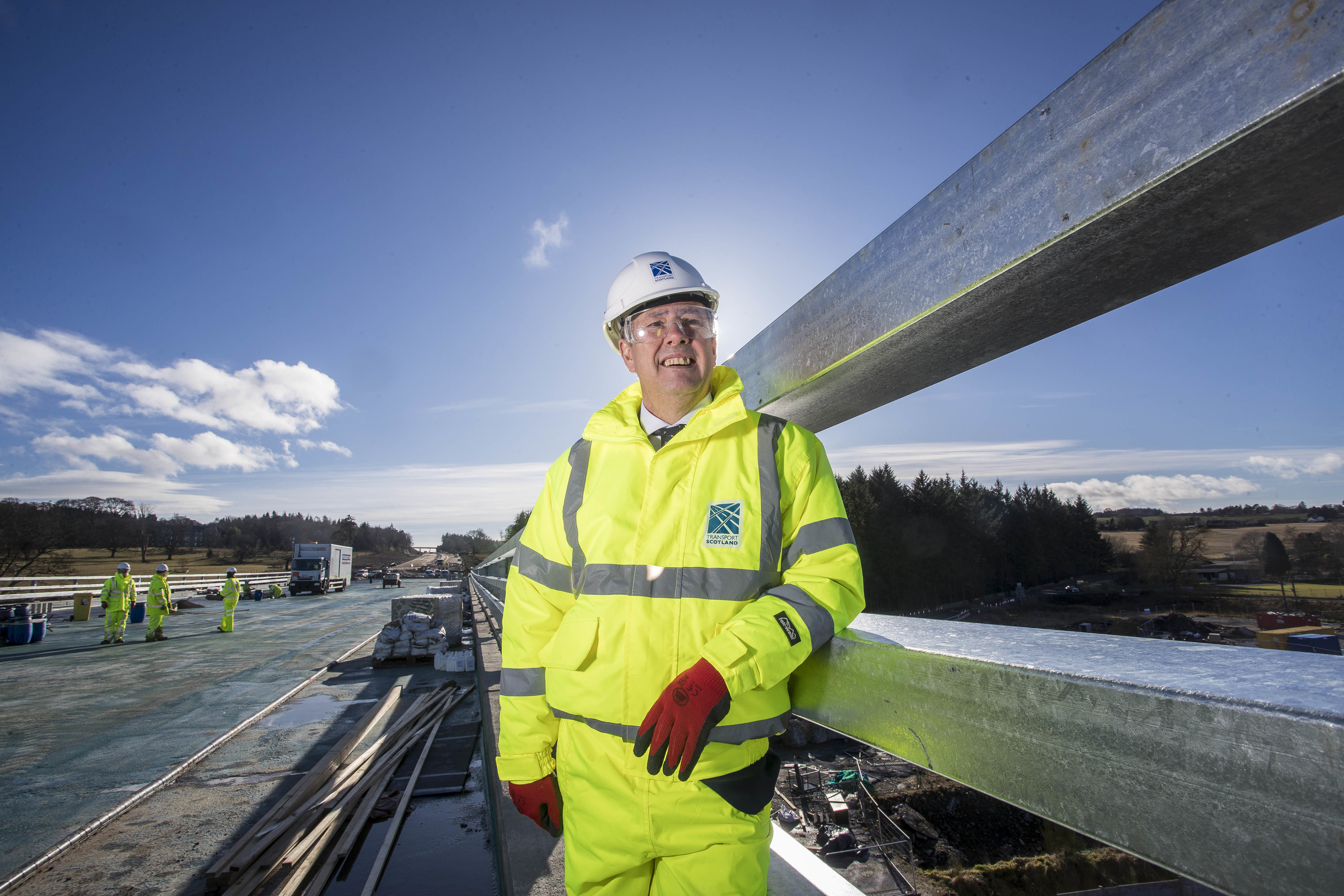 Economy Secretary Keith Brown on a visit to the AWPR near Aberdeen yesterday