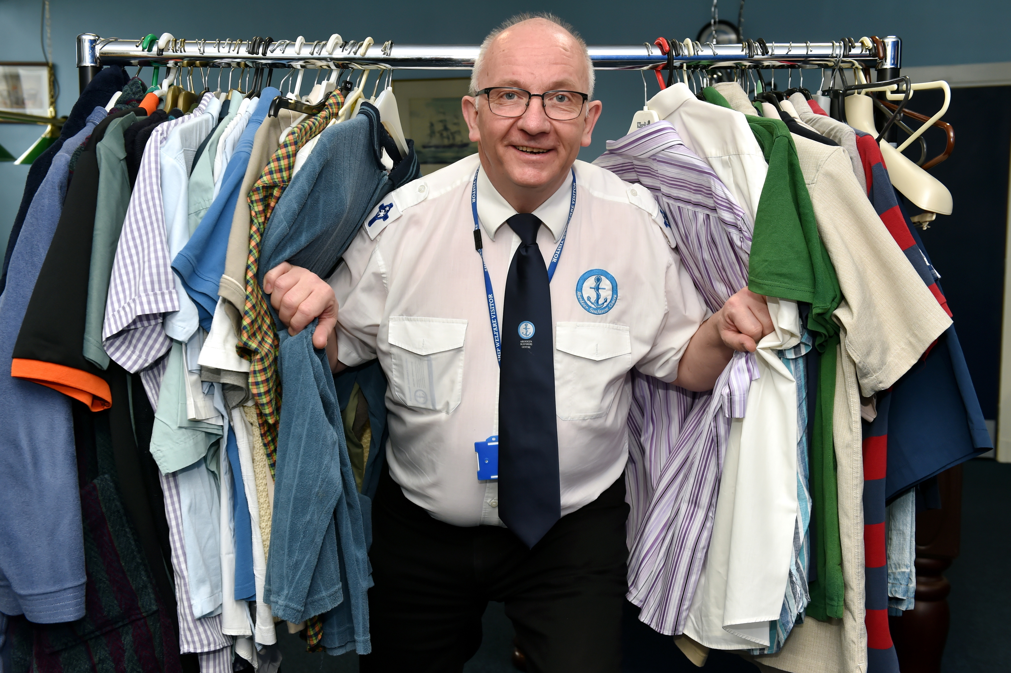 The Aberdeen Seafarer's have started a new appeal in the wake of the Malaviya Seven story. They're wanting men to donate bags of clothing for international seafarers that are stuck in Aberdeen for lengthy periods of time, much like the Malaviya crew. Picture of Port Chaplain, Howard Drysdale with some cloths.  Picture by KENNY ELRICK     18/02/2018