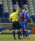 Brad Mckay was sent off in the Irn-Bru Cup semi-final against Crusaders.