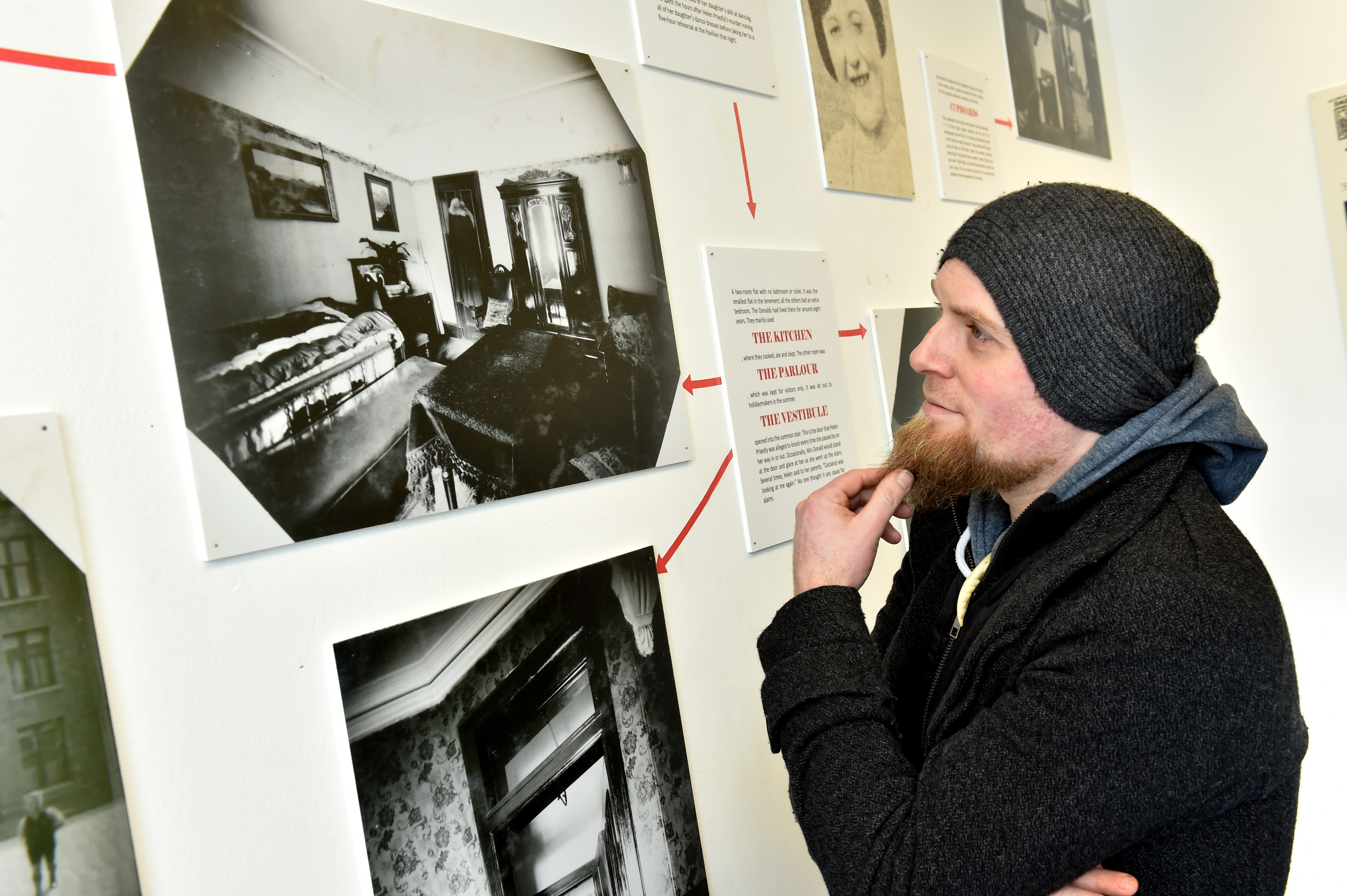 Granite Noir festival, Crime Scene Aberdeen exhibition at 17 Belmont Street, by Author and researcher Diarmid Mogg. Picture of the public looking at the exhibition.  Picture by Kenny Elrick