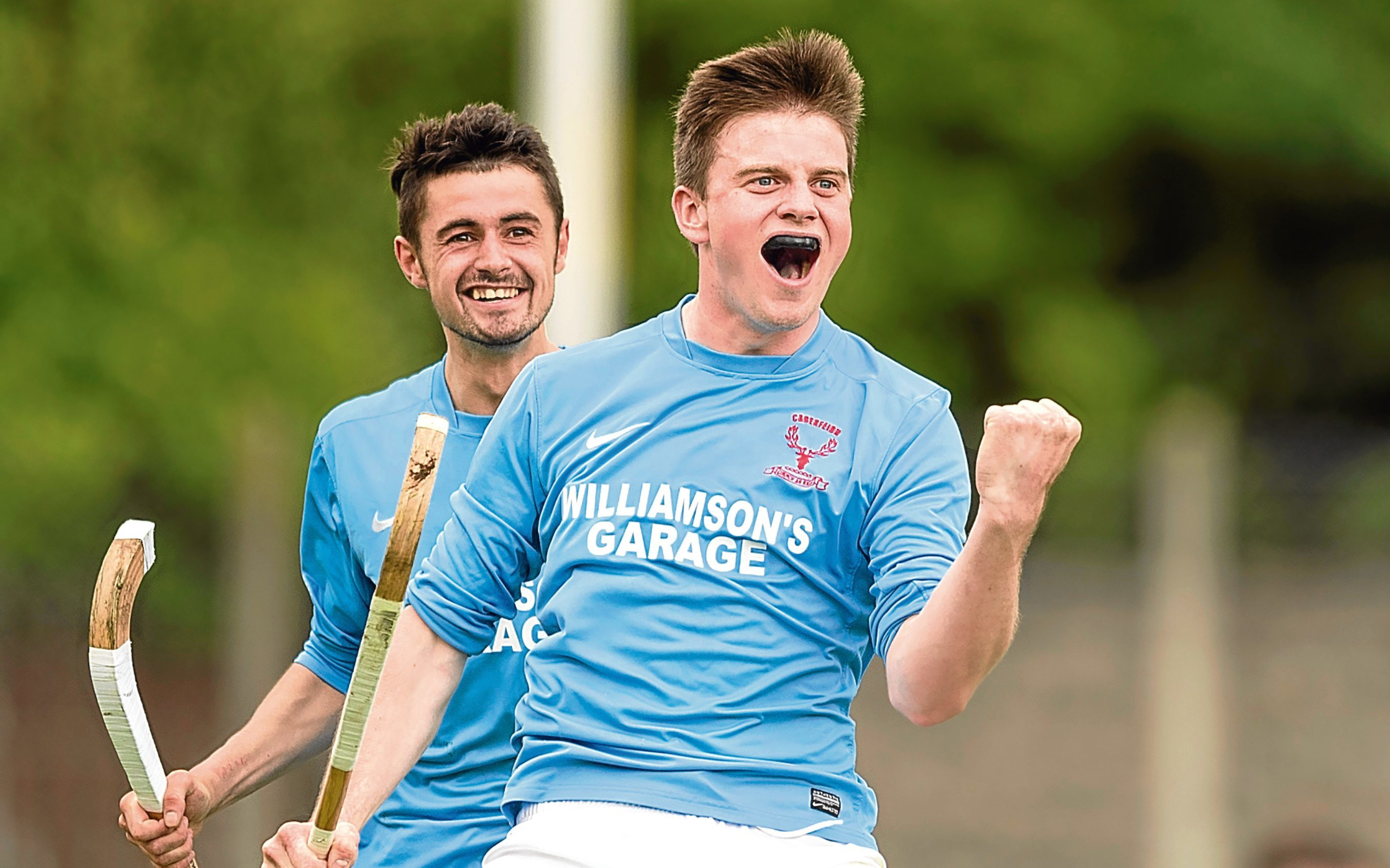 Caberfeidh's Craig Morrison with the third goal of his hat trick.  Balliemore Cup Final, Caberfeidh v Fort William, played at Blairbeg, Drumnadrochit.
