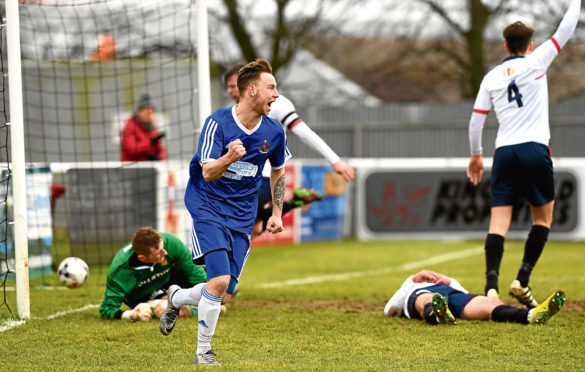Press and Journal Highland League.      Cove Rangers (blue) v Formatine United (white) ;     Pictured - Cove's Mitch Megginson celebrates his first goal.       Picture by Kami Thomson    03-02-18