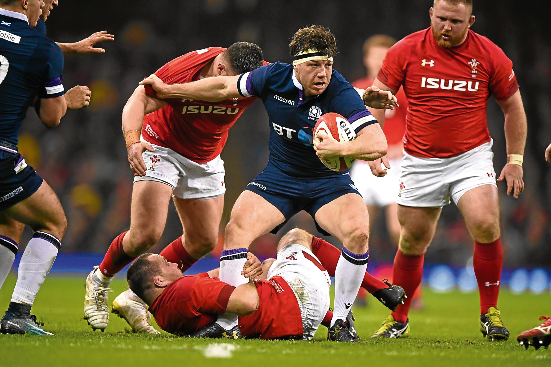 Scotland player Hamish Watson in action