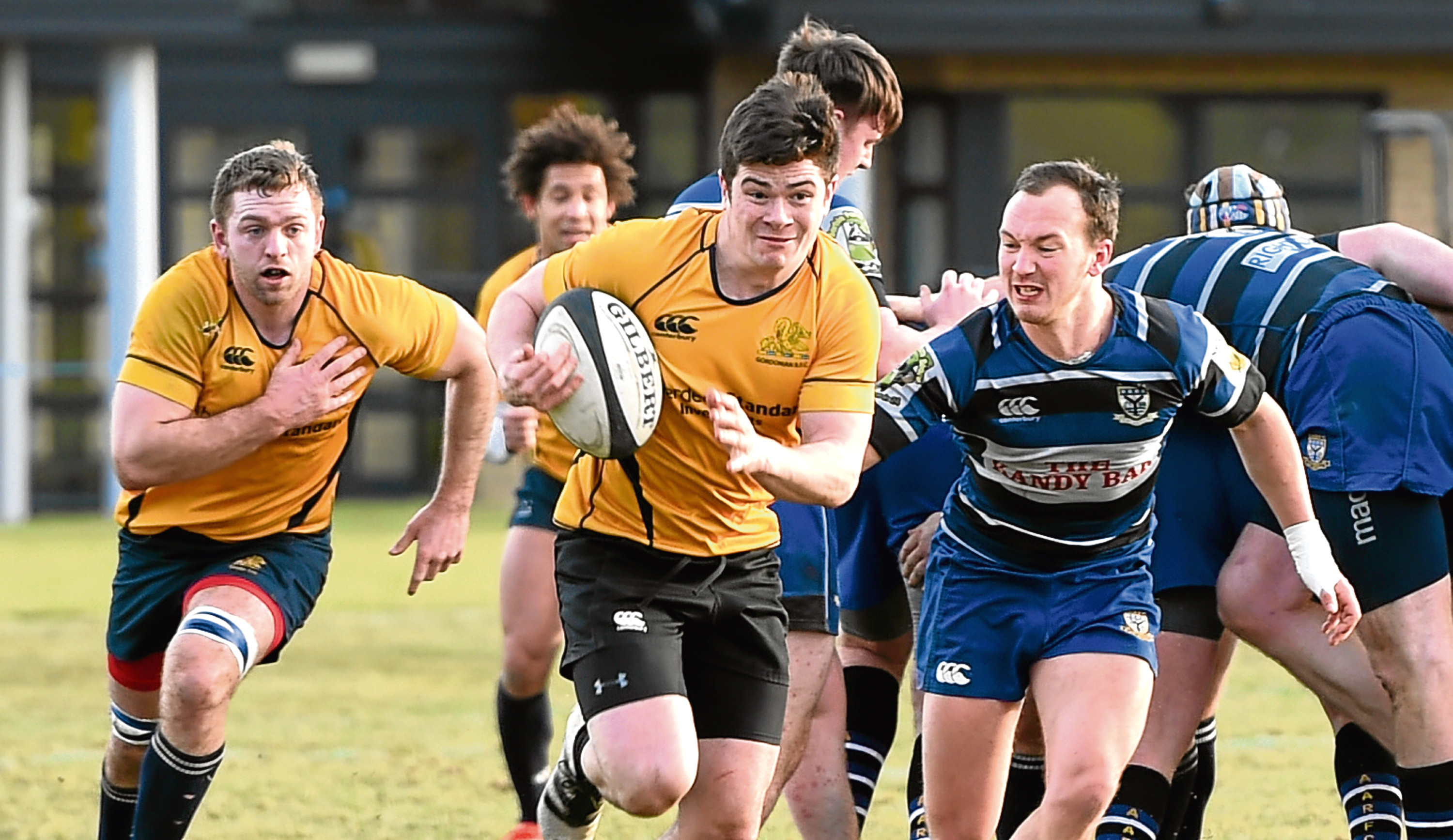 Gordonians RFC v Dalziel RFC at Countesswells Aberdeen. In the picture is Seb Davies racing forward.  Picture by Jim Irvine