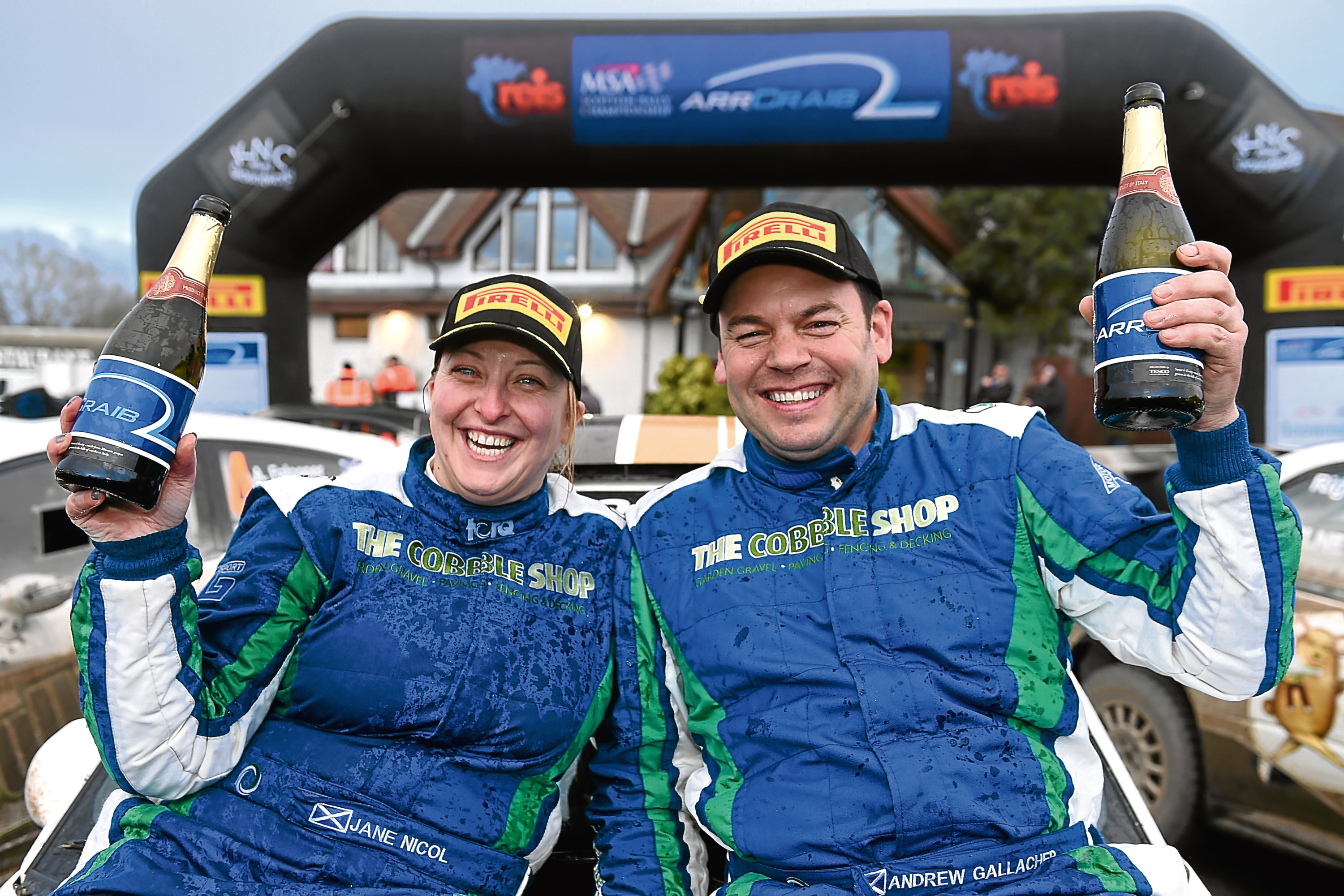 Navigator Jane Nicol of Edinburgh and Andrew Gallacher of Hurlford enjoy the moment. Pictures by Sandy McCook