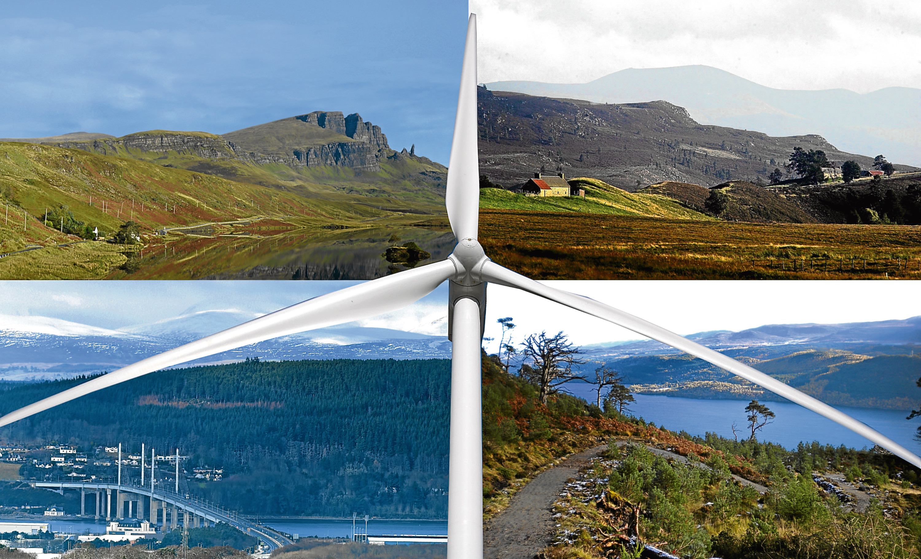 MONTAGE for windfarm story - clockwise from top left: Old Man Of Storr on Skye, Dava Moor, The Great Glen Way and The Black Isle.