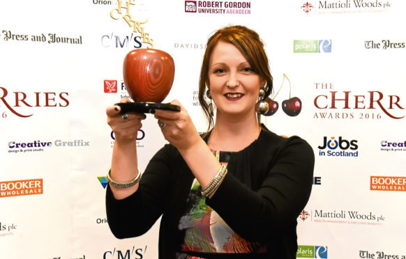 The Cherries Awards 2016 at AECC, Aberdeen. In the picture is The Blossoming award winner, Abigail Mawhirt, Dundee and Angus College.   Picture by Jim Irvine
