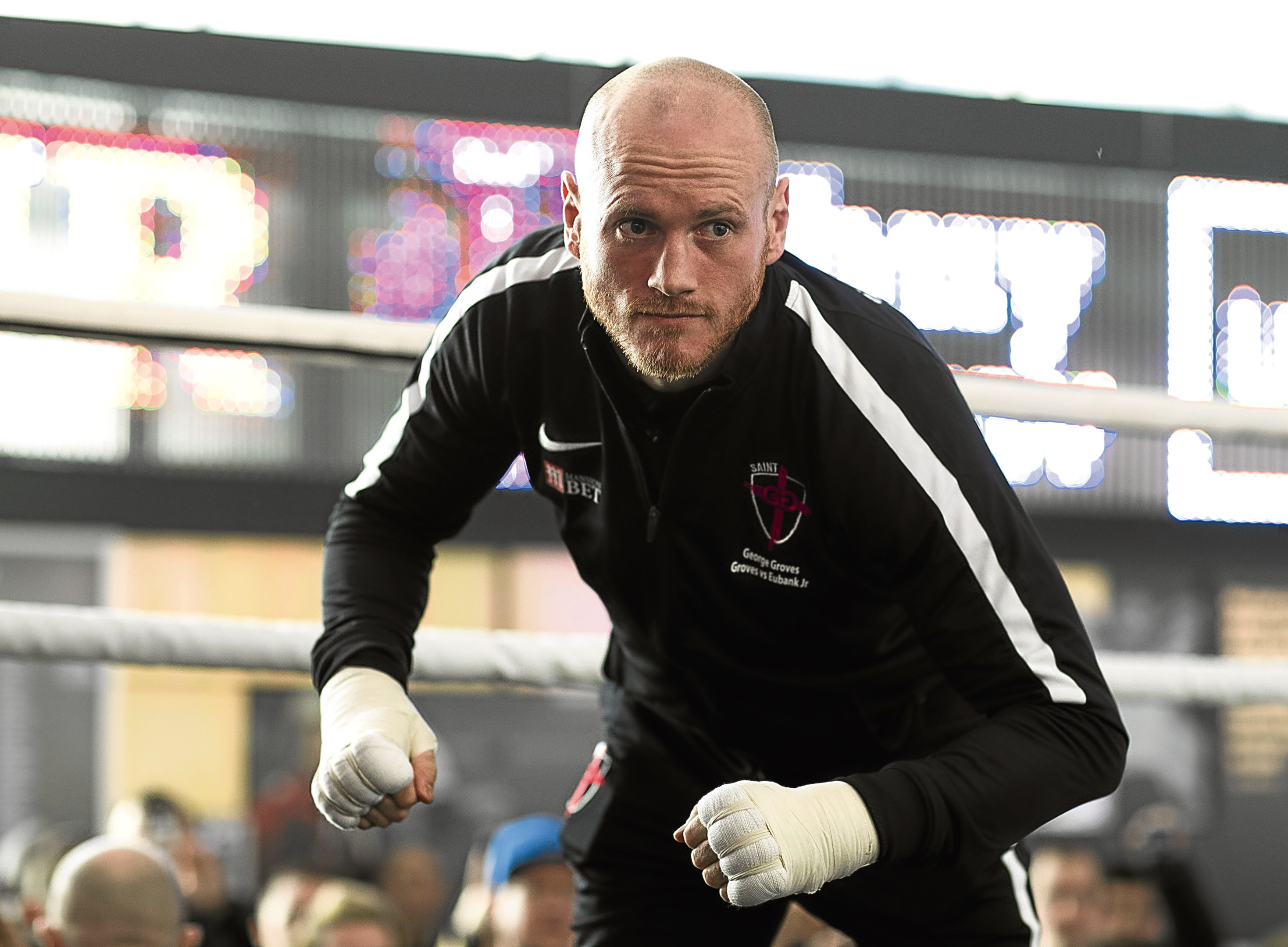MANCHESTER, ENGLAND - FEBRUARY 13: George Groves takes part in a public work out at National Football Museum on February 13, 2018 in Manchester, England. (Photo by Mark Robinson/Getty Images)