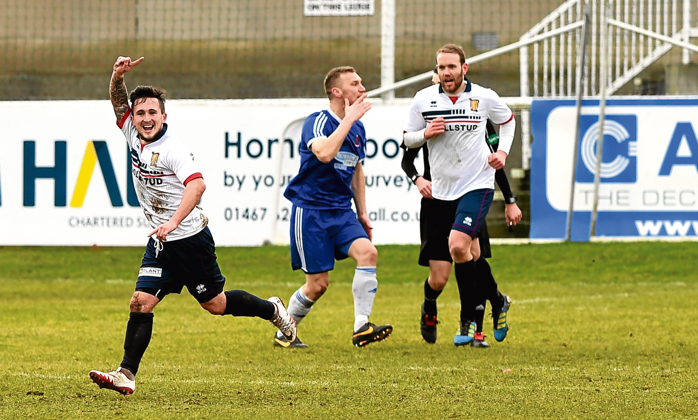 Formartine's Andrew Greig celebrates his goal