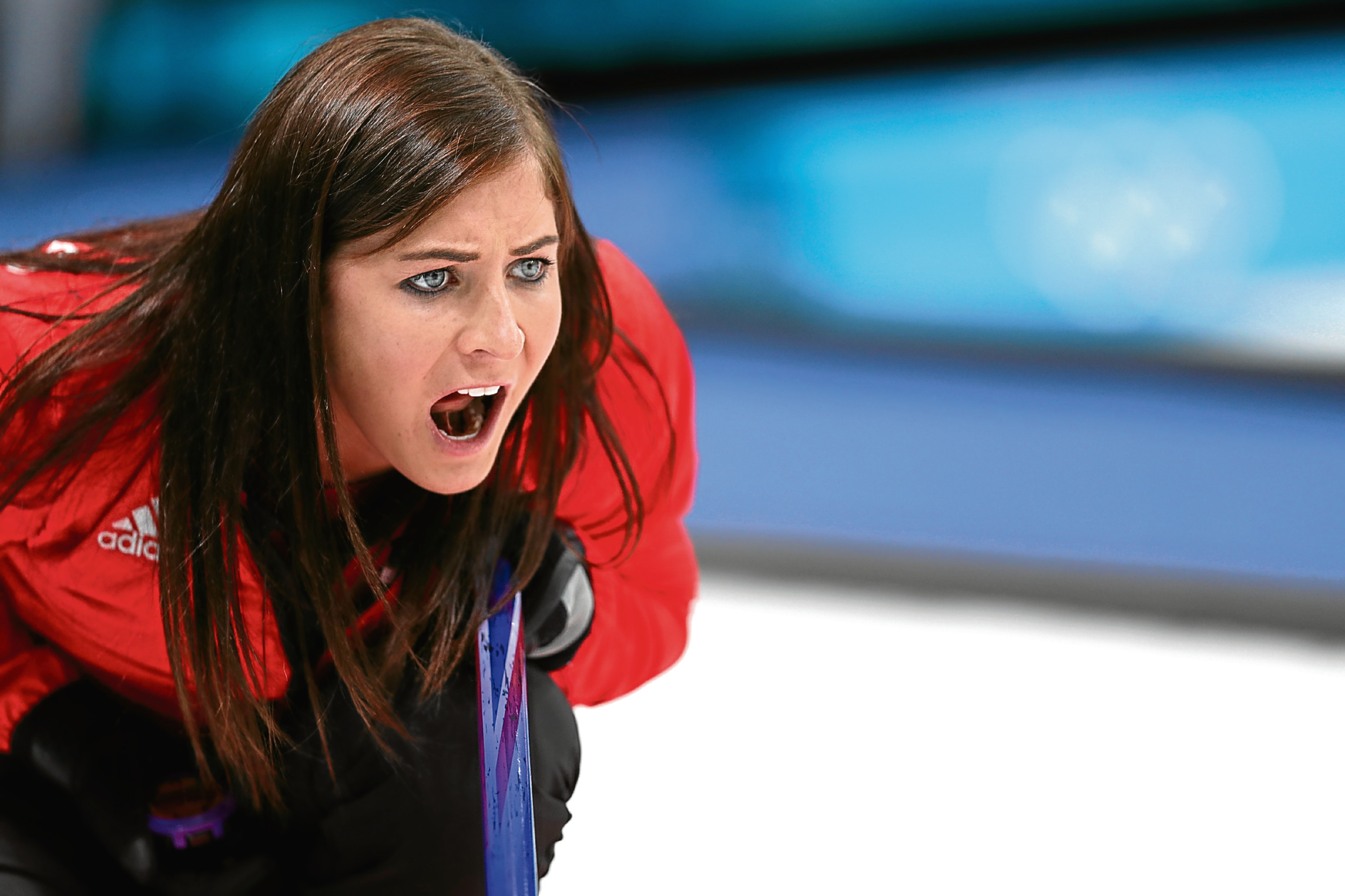 GANGNEUNG, SOUTH KOREA - FEBRUARY 19: Eve Muirhead of Great Britain directs her team during Women's Round Robin Session 9 on day 10 of the PyeongChang 2018 Winter Olympic Games at Gangneung Curling Centre on February 19, 2018 in Pyeongchang-gun, South Korea. (Photo by Maddie Meyer/Getty Images)