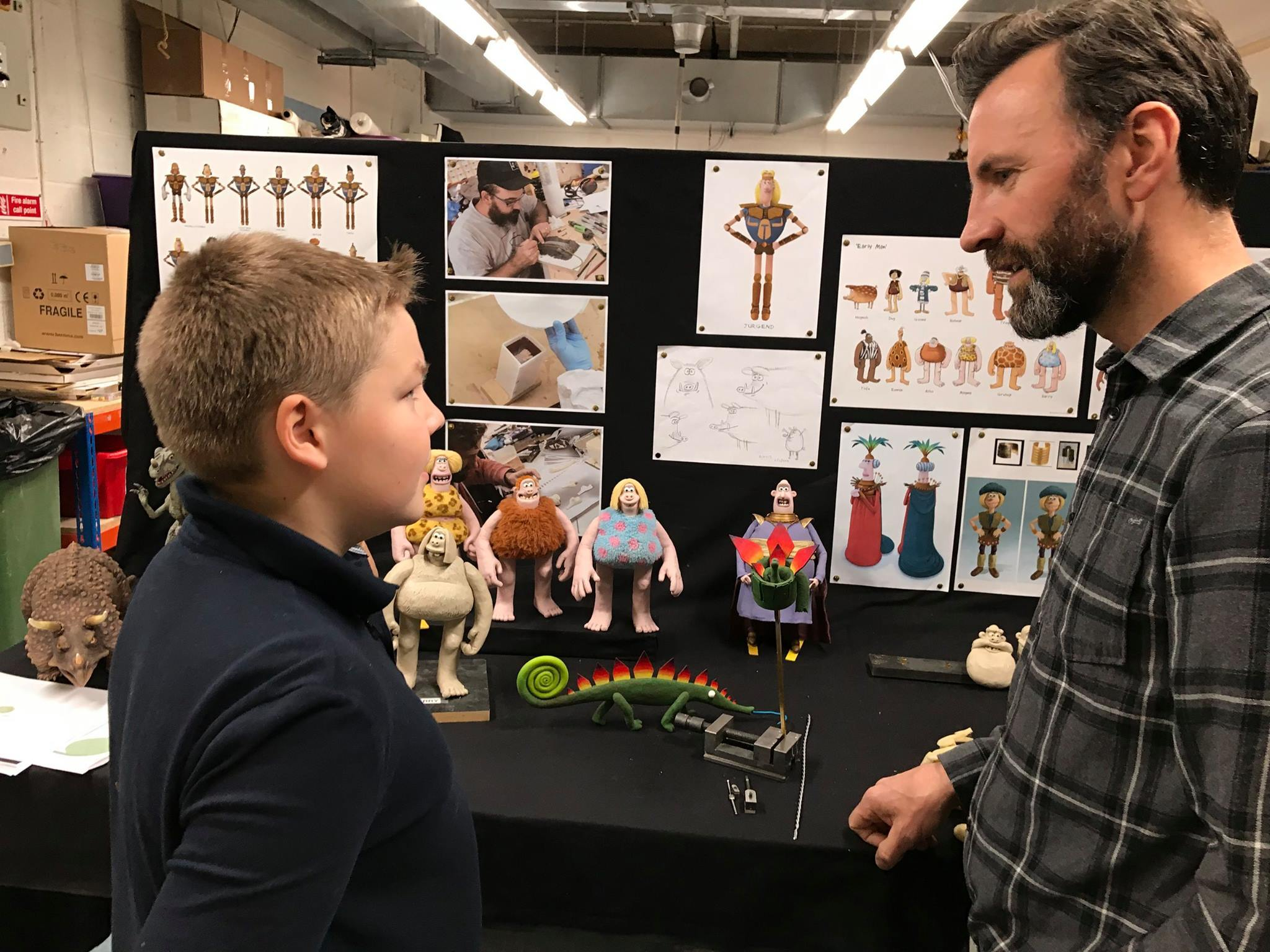 Rory Milne, pictured left, saw his creations come to life at Aardman after winning a national competition.