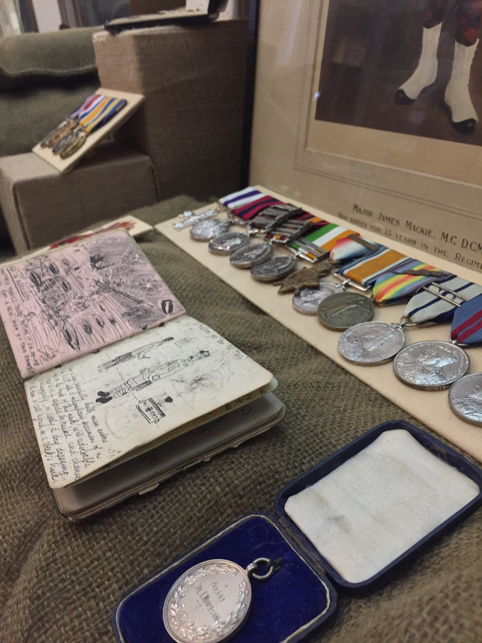 Some of the artefacts that tell the story of the 2nd Gordons involvement in the Italian Campaign in 1917-1918