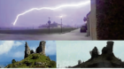 The castle was struck by lightning.