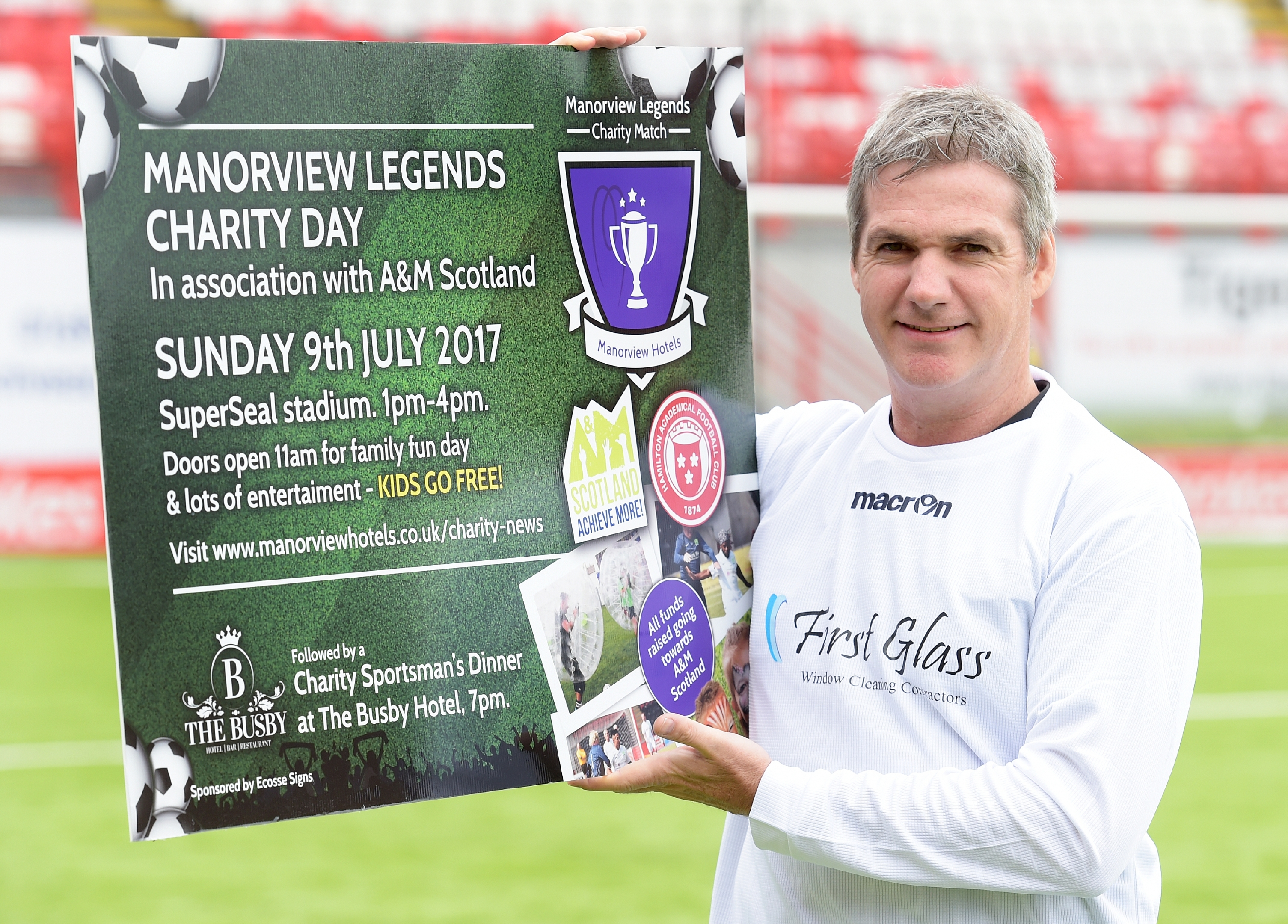 Former footballers Joe Miller launches the Manorview Legends charity football match being played next month.