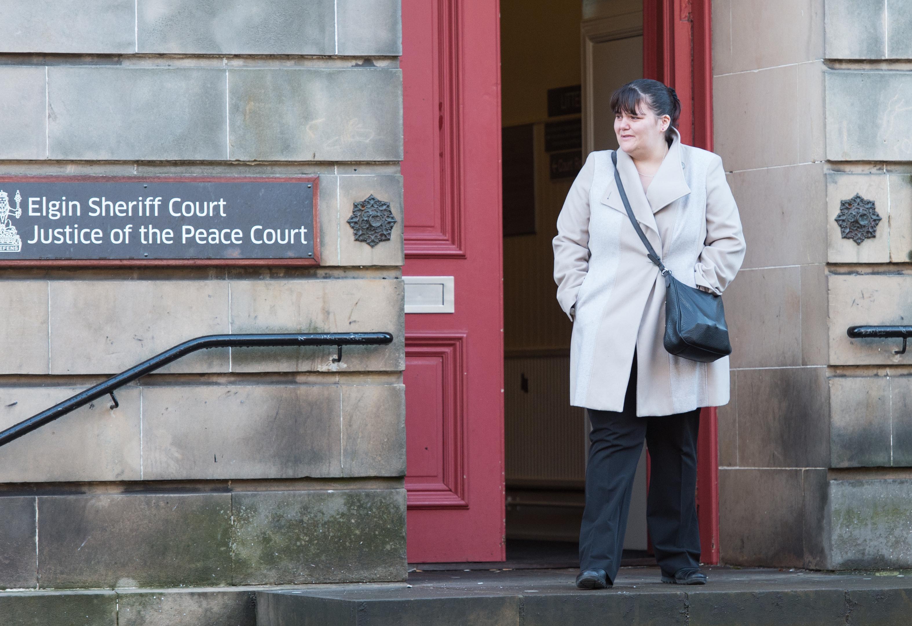 Erynn Buchan leaving Elgin Sheriff Court.