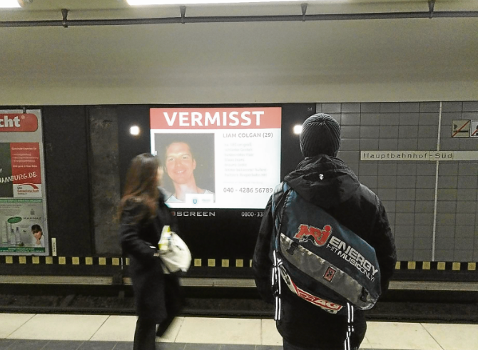 Continuing the search for Liam Colgan in Hamburg.
