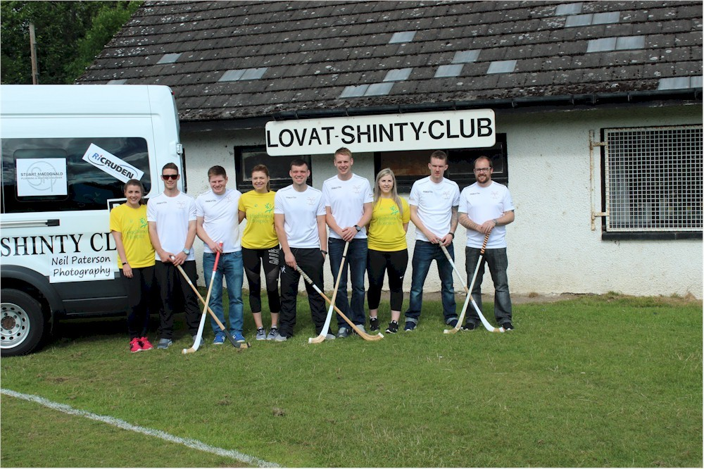 Lovat Shinty Club outside the old building.