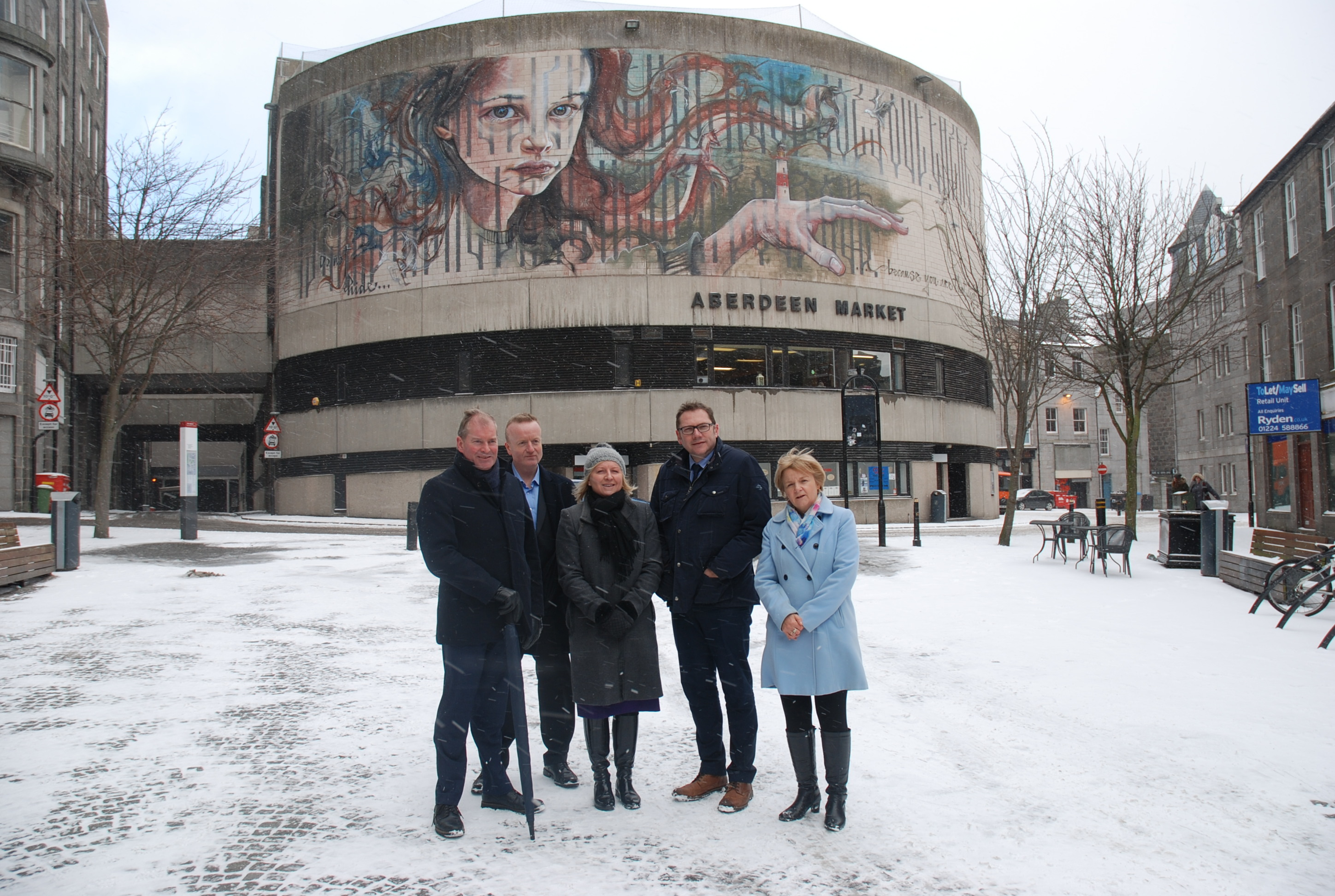 Kevin Milne, group treasurer, Aberdeen Standard Investments, Adrian Watson, chief executive of Aberdeen Inspired, Elaine Farquharson-Black, Partner at Burness Paull and Aberdeen City Council co-leaders Cllr Douglas Lumsden and Councillor Jenny Laing.