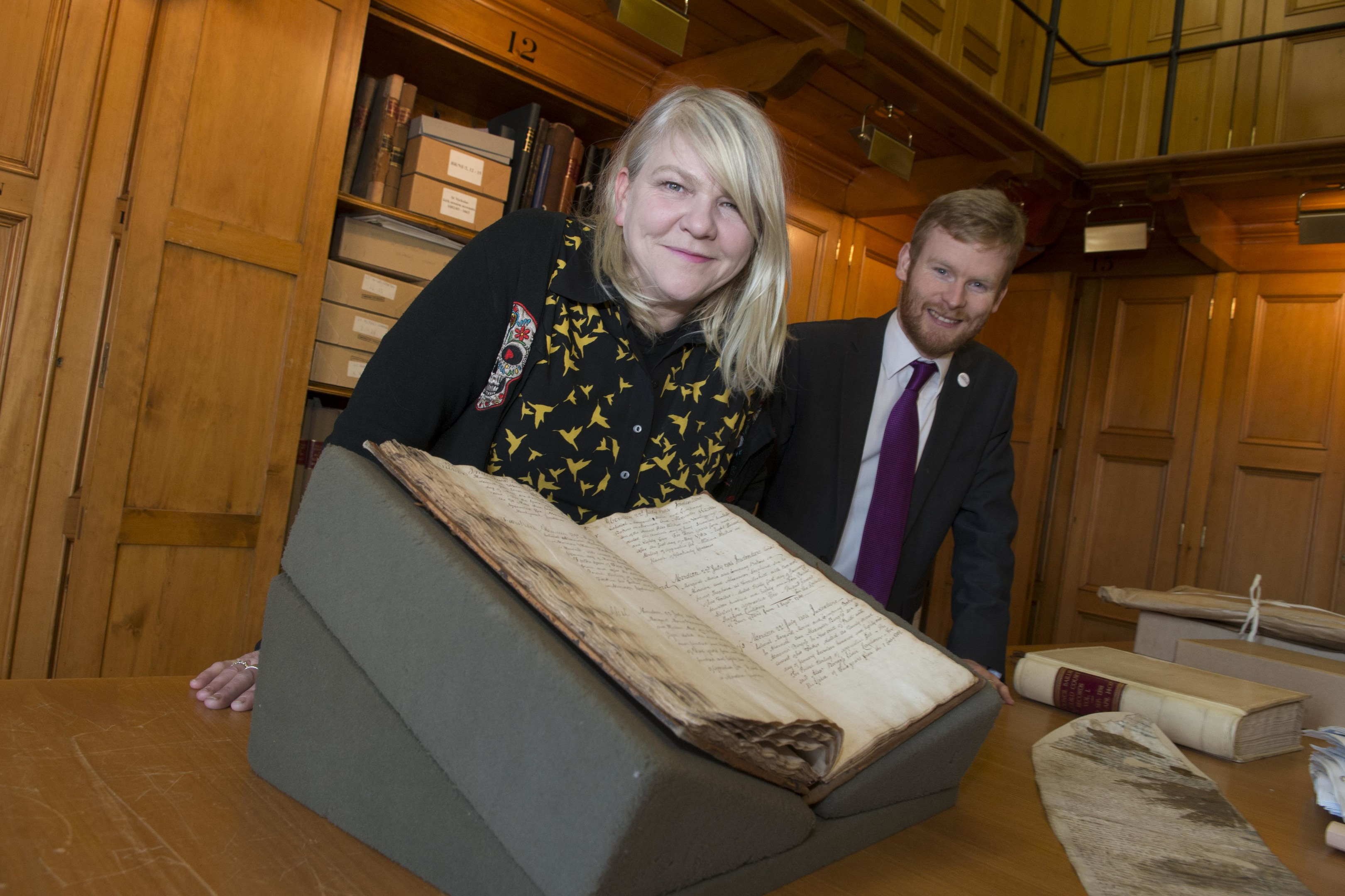 12/02/18 Nu-Art artist CARRIE REICHARDT-visietd aberdeen City Archives  to work on her art for nu-Art carrie with Councillor Ross Grant-